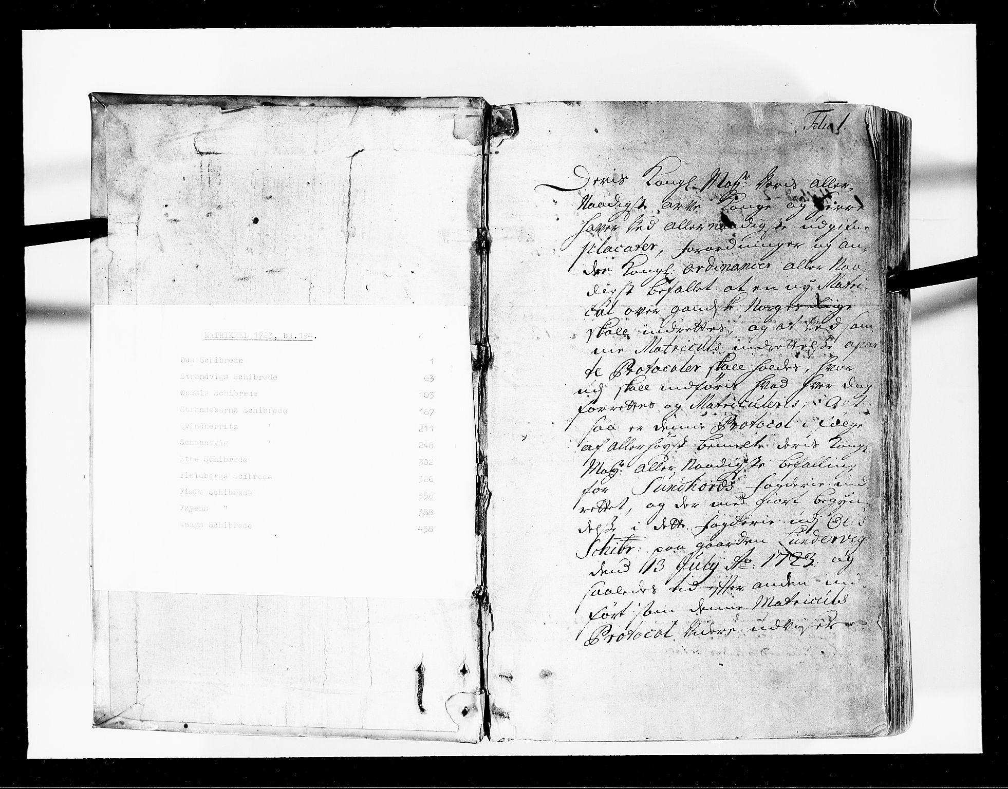 RA, Rentekammeret inntil 1814, Realistisk ordnet avdeling, N/Nb/Nbf/L0134: Sunnhordland eksaminasjonsprotokoll, 1723, s. 1a
