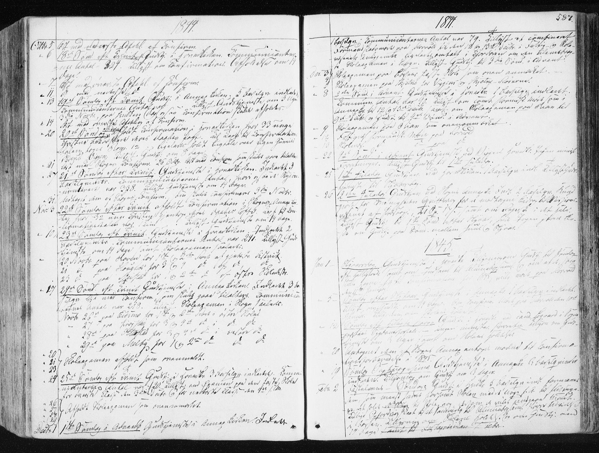 SAT, Ministerialprotokoller, klokkerbøker og fødselsregistre - Sør-Trøndelag, 665/L0771: Ministerialbok nr. 665A06, 1830-1856, s. 587