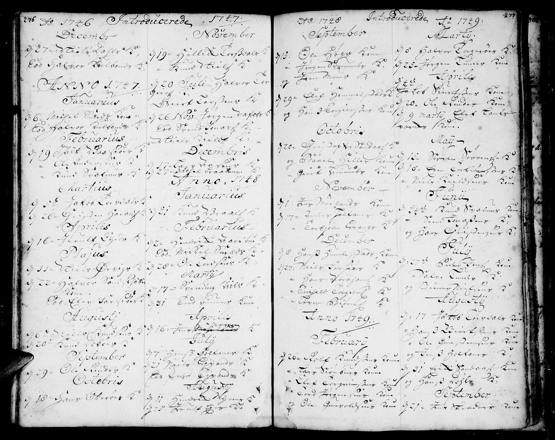 SAKO, Sannidal kirkebøker, F/Fa/L0001: Ministerialbok nr. 1, 1702-1766, s. 276-277