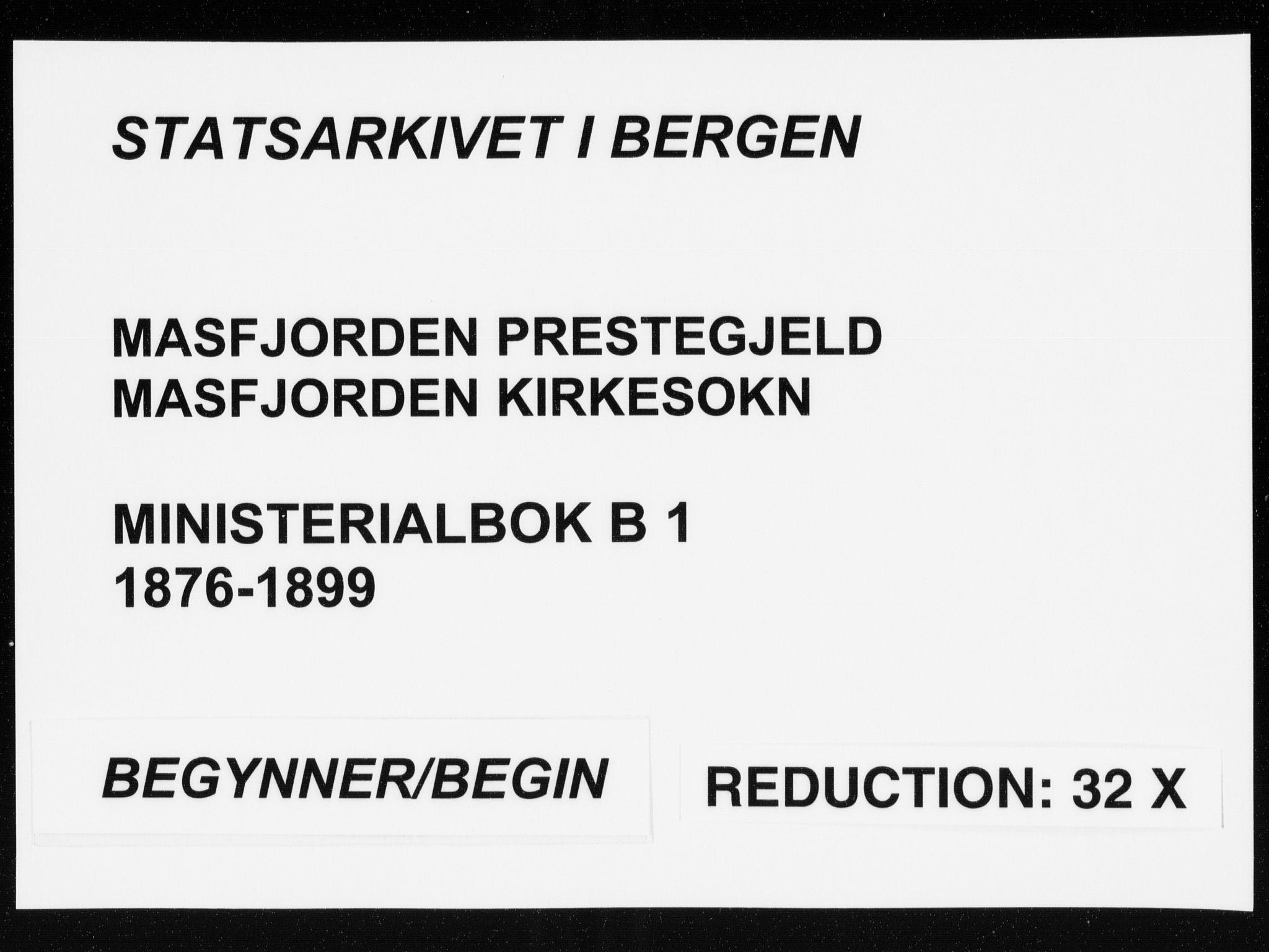 SAB, Masfjorden Soknepresembete, Ministerialbok nr. B  1, 1876-1899