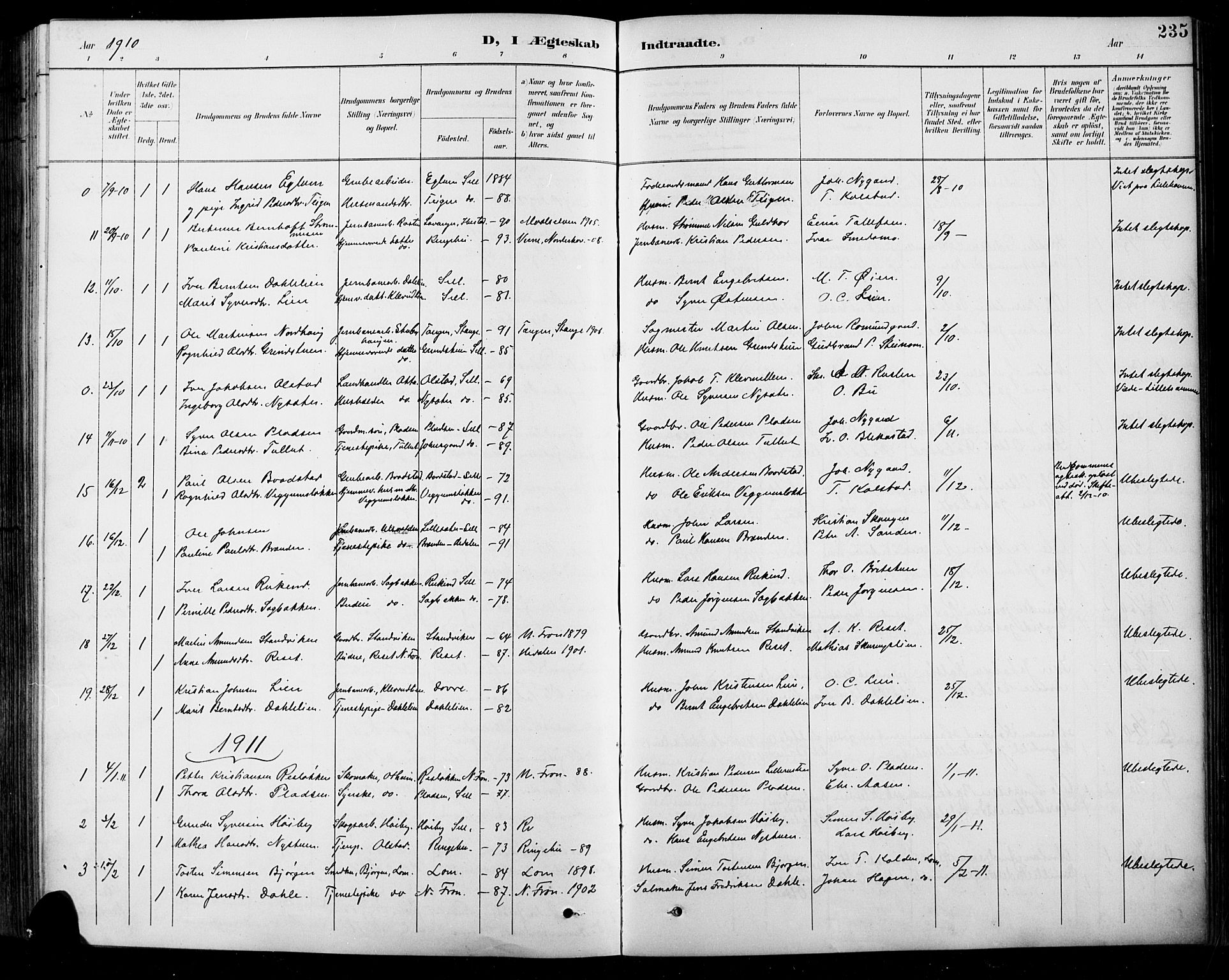 SAH, Sel prestekontor, Klokkerbok nr. 1, 1894-1923, s. 235