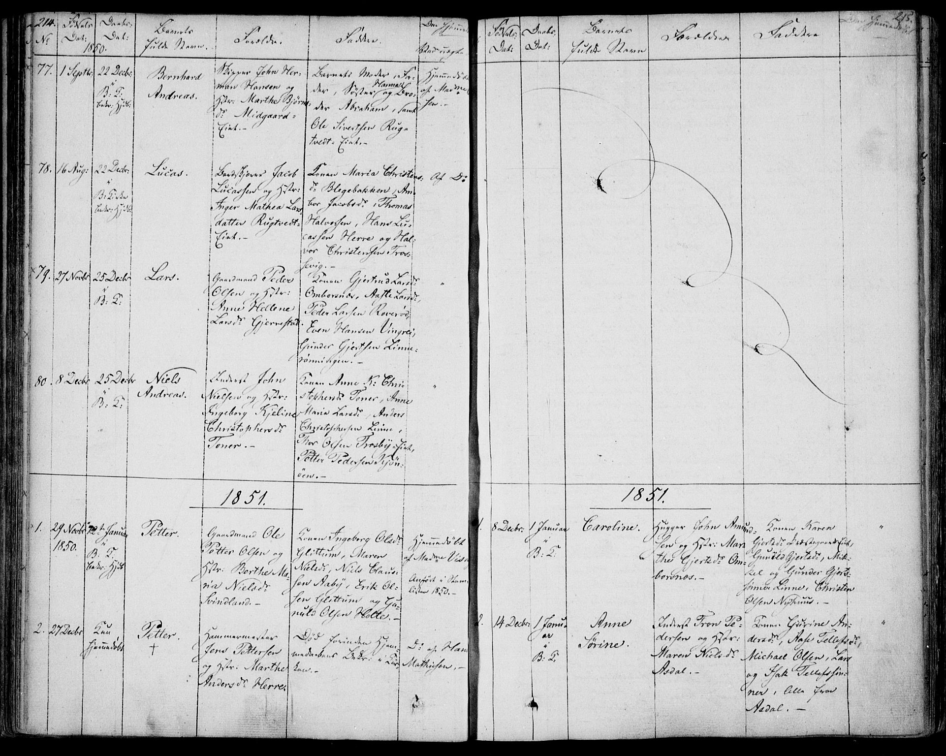 SAKO, Bamble kirkebøker, F/Fa/L0004: Ministerialbok nr. I 4, 1834-1853, s. 214-215