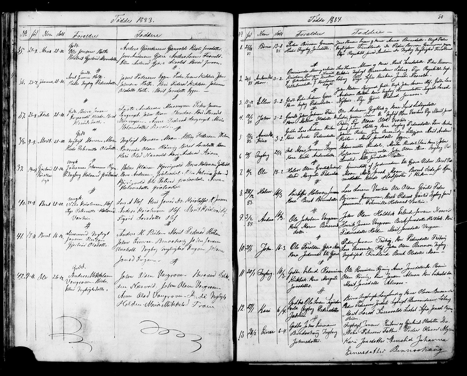 SAT, Ministerialprotokoller, klokkerbøker og fødselsregistre - Sør-Trøndelag, 686/L0985: Klokkerbok nr. 686C01, 1871-1933, s. 30