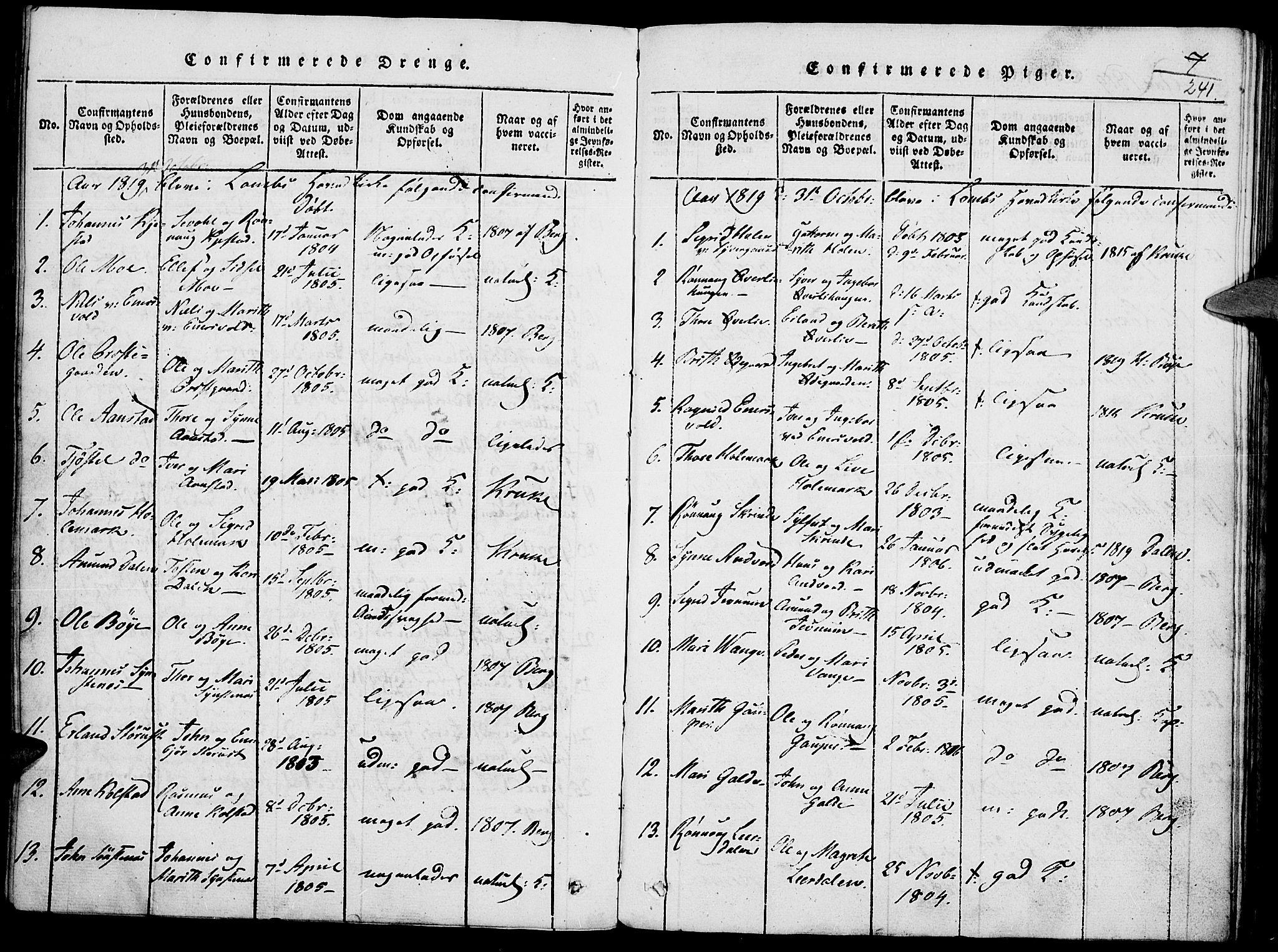 SAH, Lom prestekontor, K/L0004: Ministerialbok nr. 4, 1815-1825, s. 241