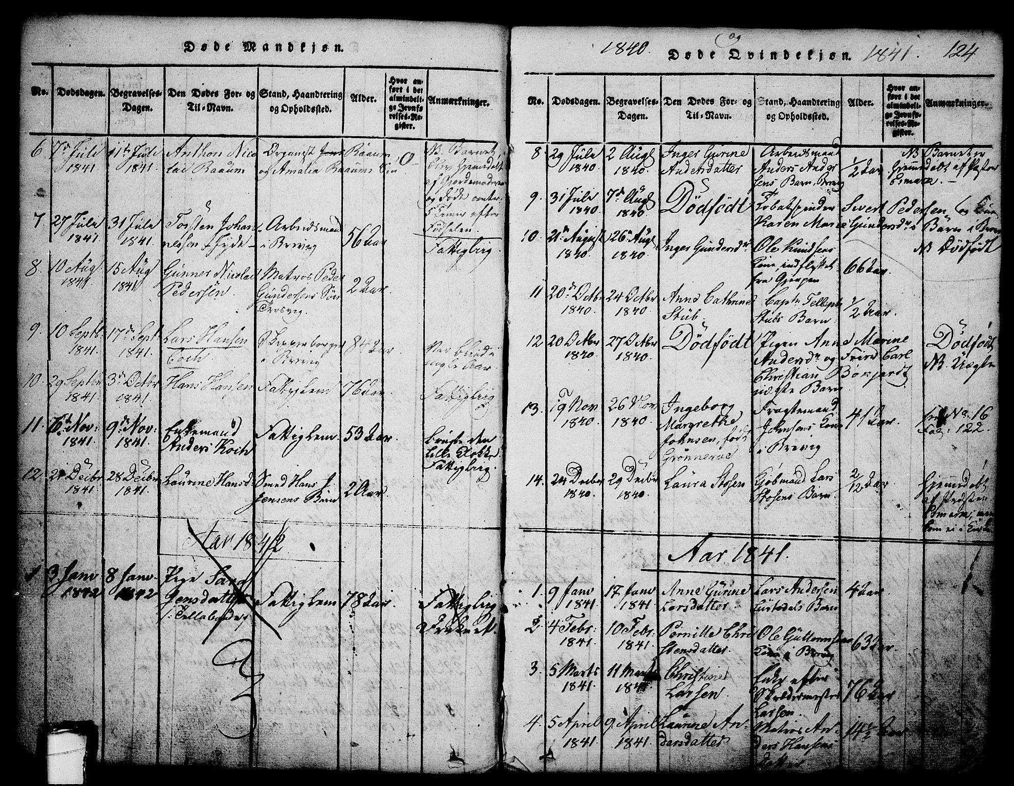 SAKO, Brevik kirkebøker, G/Ga/L0001: Klokkerbok nr. 1, 1814-1845, s. 124
