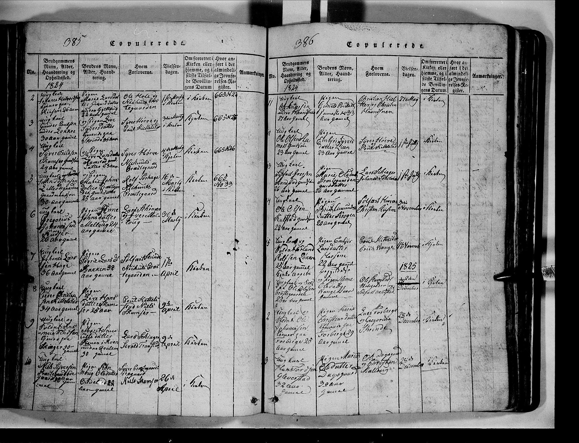 SAH, Lom prestekontor, L/L0003: Klokkerbok nr. 3, 1815-1844, s. 385-386