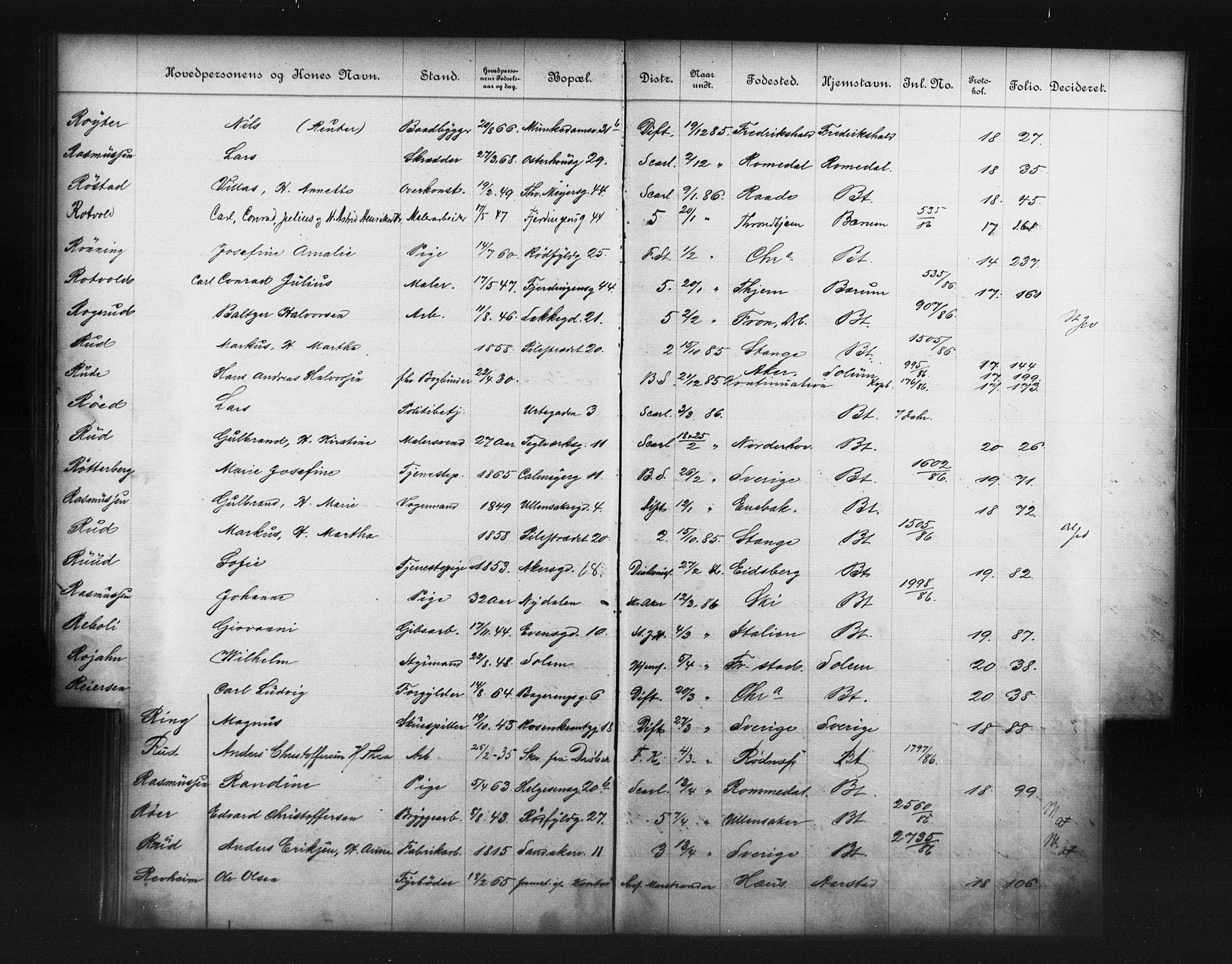 OBA, Fattigvesenet, Fb/L0006: Hjemstavnsregister, 1886, s. 166