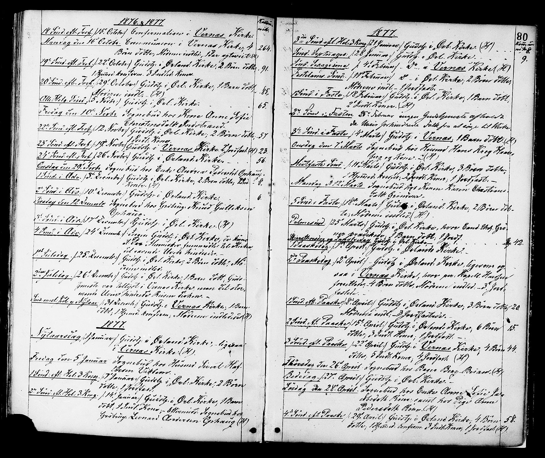 SAT, Ministerialprotokoller, klokkerbøker og fødselsregistre - Sør-Trøndelag, 659/L0738: Ministerialbok nr. 659A08, 1876-1878, s. 80