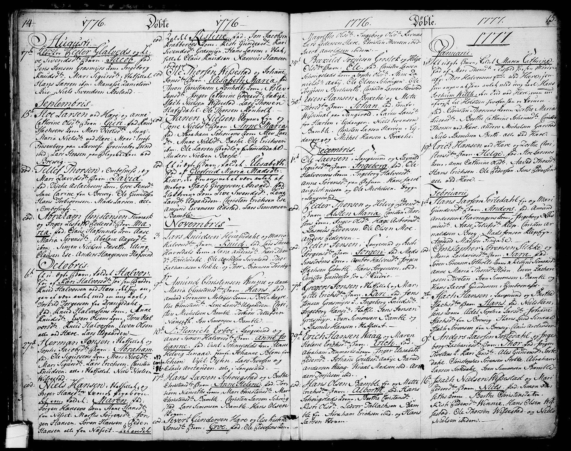 SAKO, Bamble kirkebøker, F/Fa/L0002: Ministerialbok nr. I 2, 1775-1814, s. 14-15