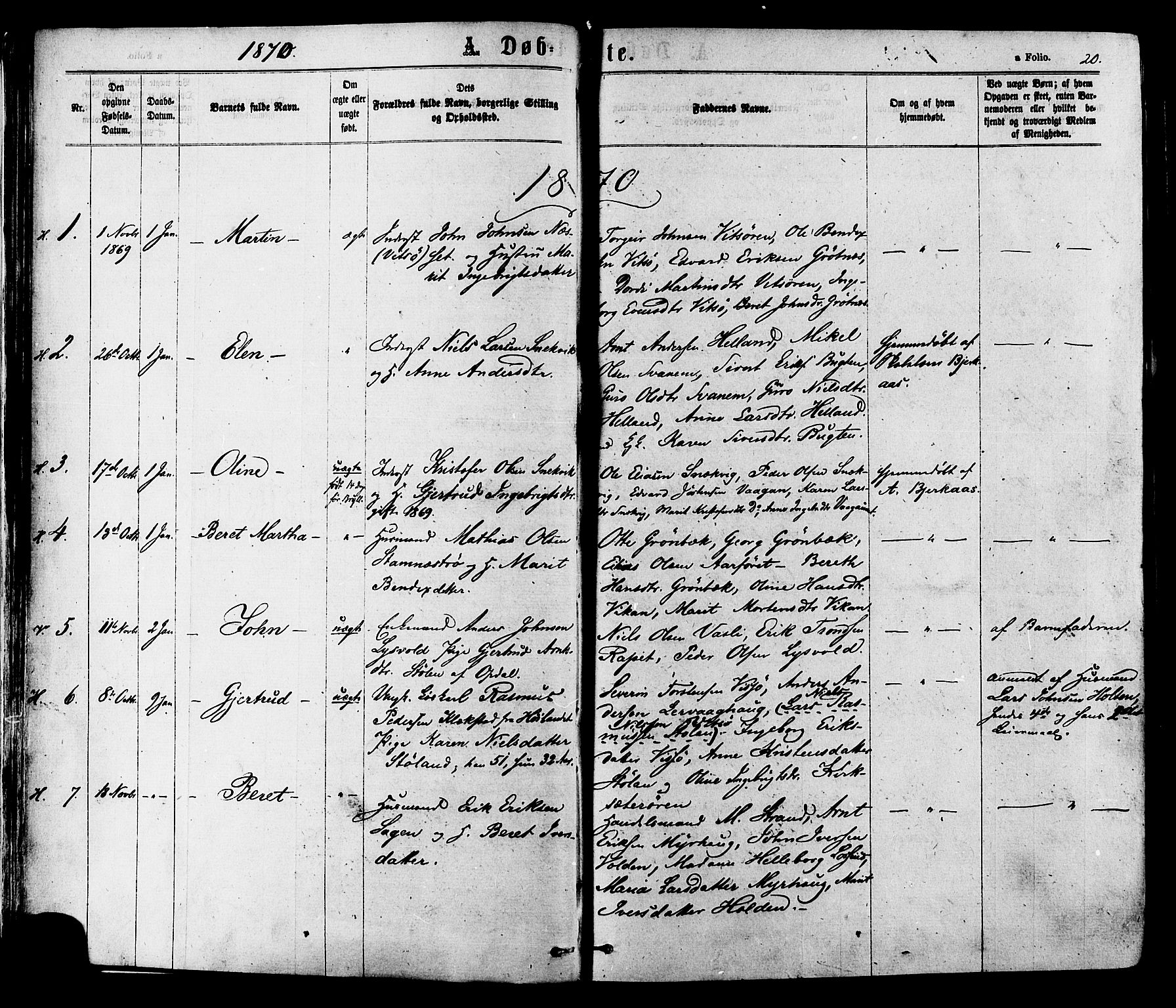 SAT, Ministerialprotokoller, klokkerbøker og fødselsregistre - Sør-Trøndelag, 630/L0495: Ministerialbok nr. 630A08, 1868-1878, s. 20