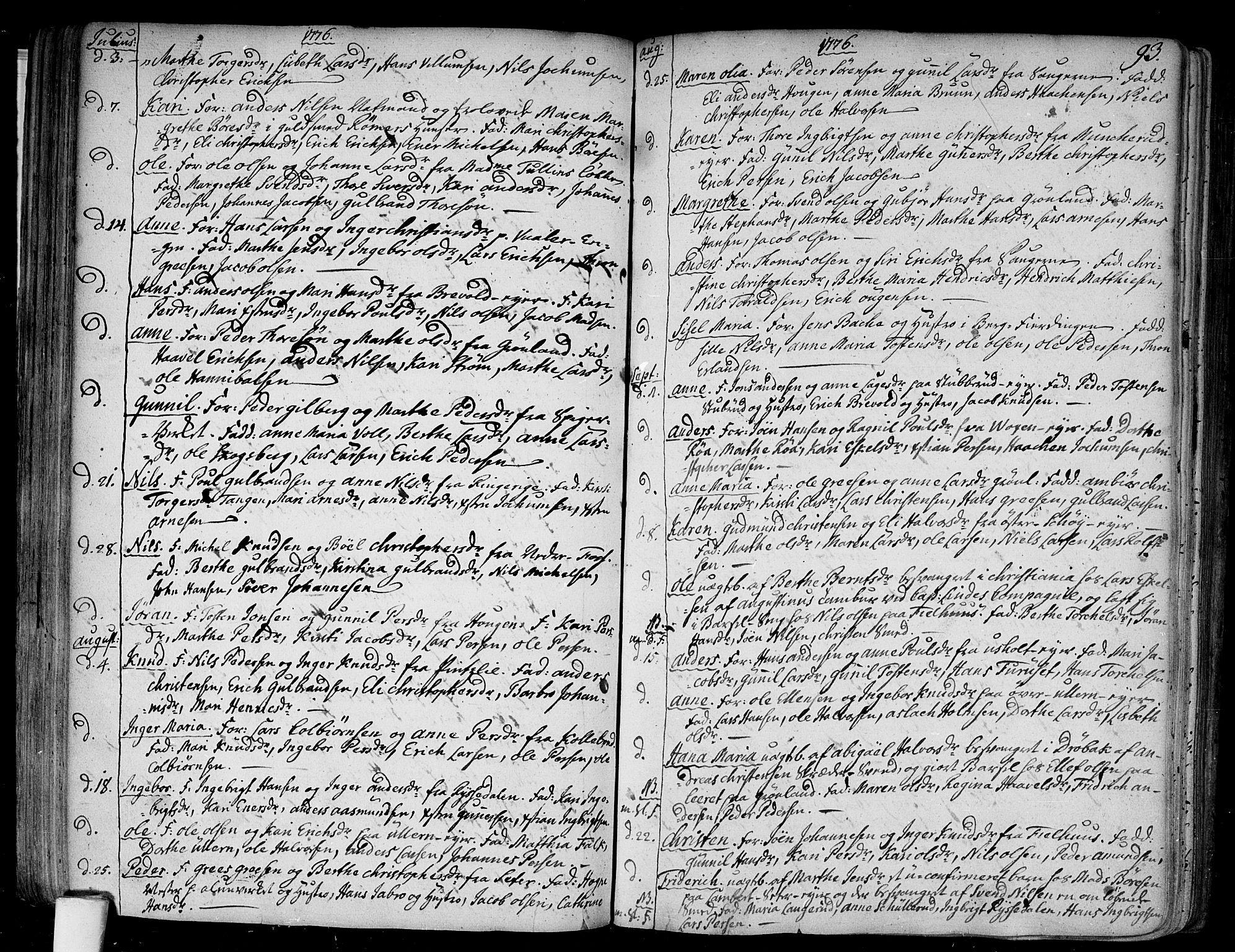 SAO, Aker prestekontor kirkebøker, F/L0009: Ministerialbok nr. 9, 1765-1785, s. 93