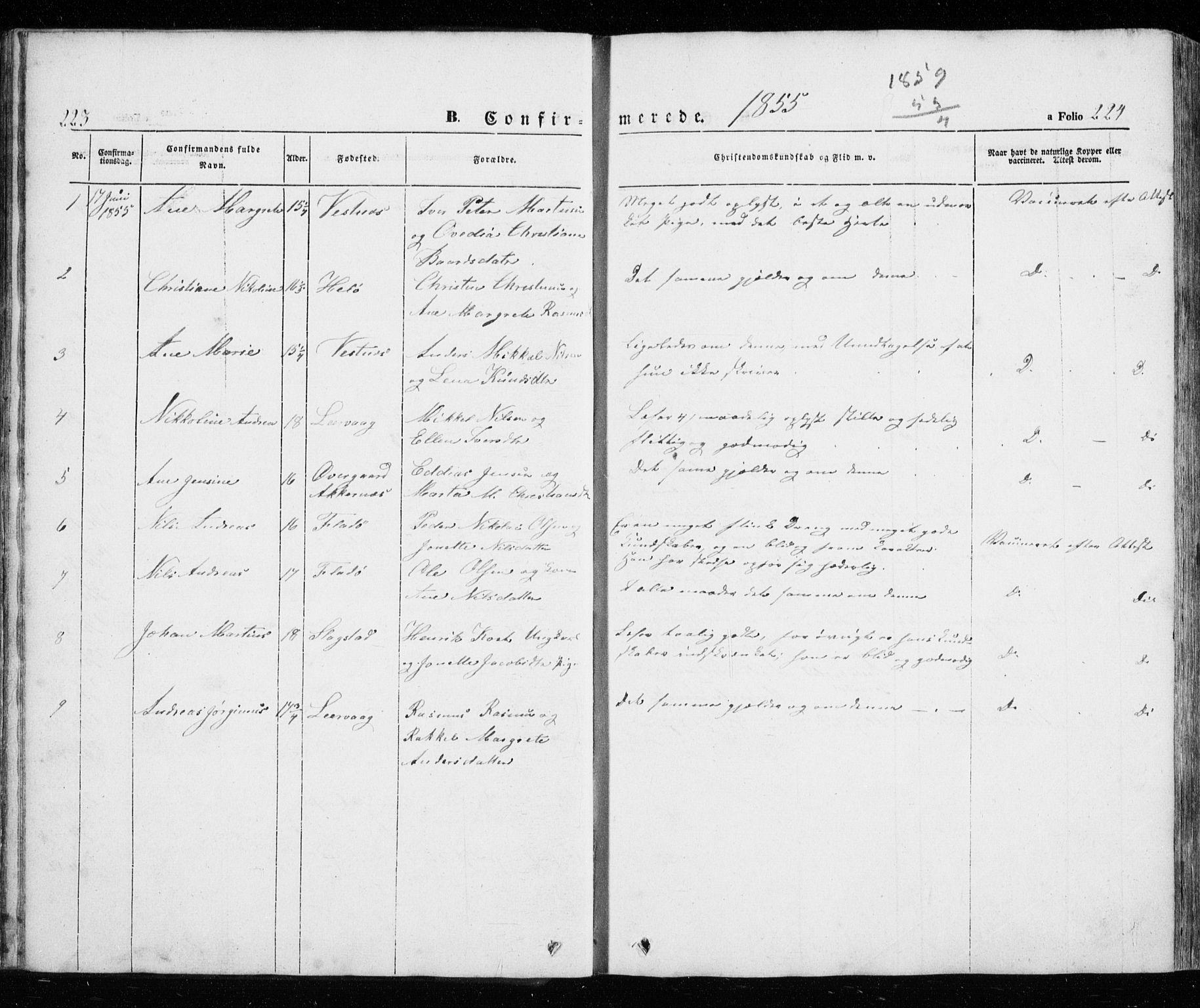 SATØ, Trondenes sokneprestkontor, H/Ha/L0010kirke: Ministerialbok nr. 10, 1840-1865, s. 223-224