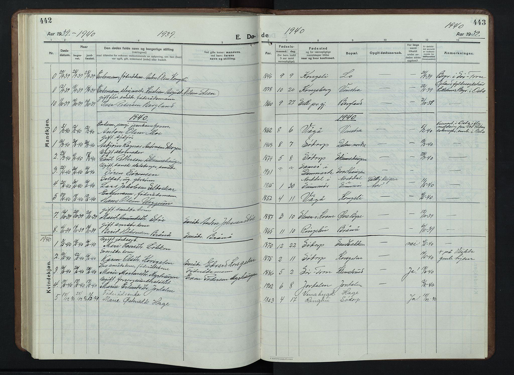 SAH, Nord-Fron prestekontor, Klokkerbok nr. 7, 1915-1946, s. 442-443