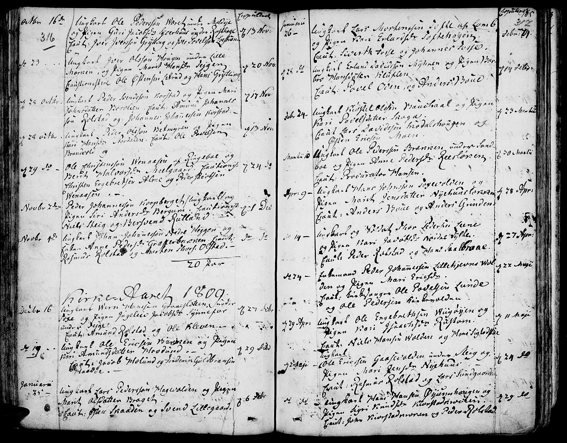 SAH, Fron prestekontor, H/Ha/Haa/L0001: Ministerialbok nr. 1, 1799-1816, s. 316-317