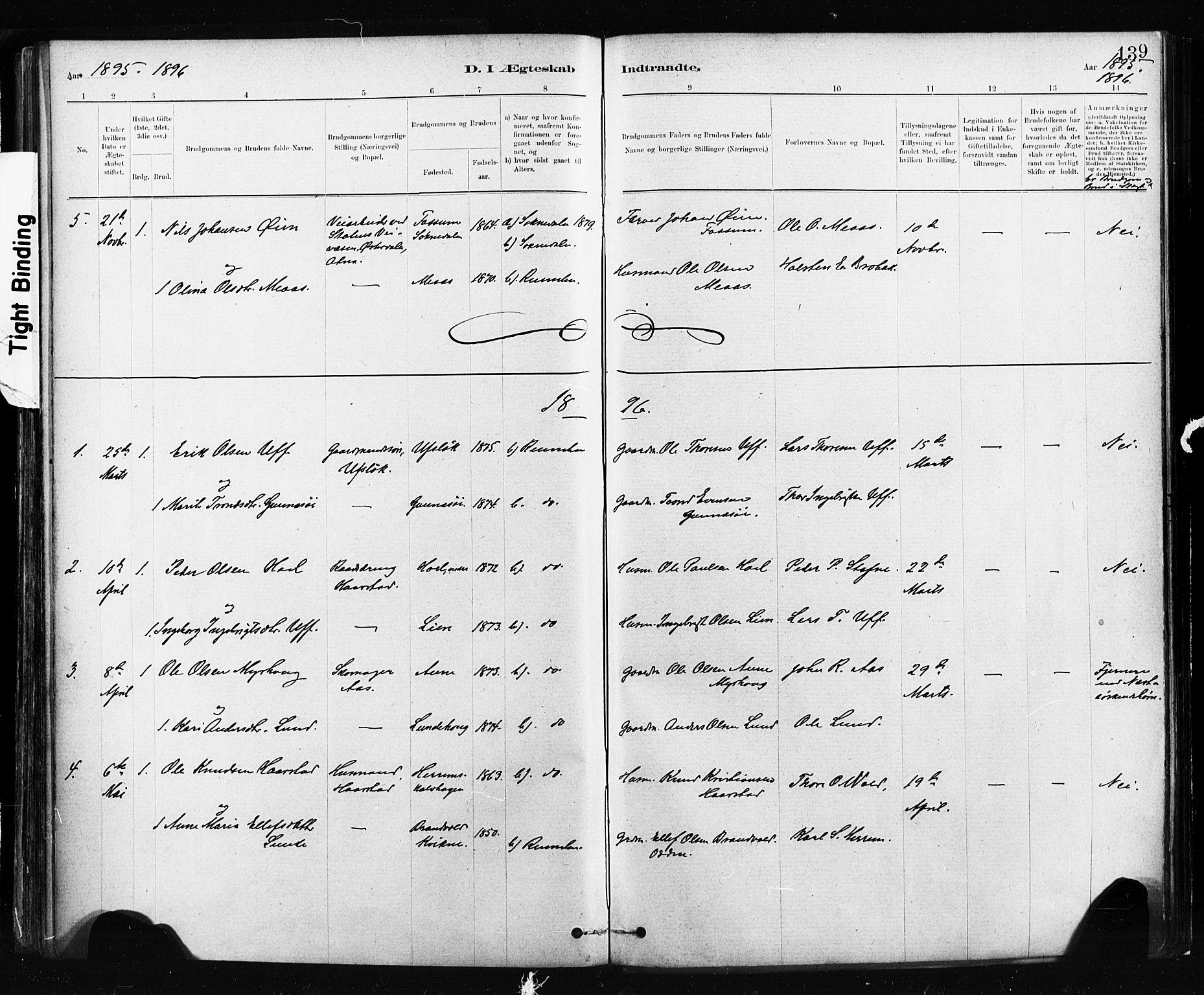 SAT, Ministerialprotokoller, klokkerbøker og fødselsregistre - Sør-Trøndelag, 674/L0871: Ministerialbok nr. 674A03, 1880-1896, s. 139