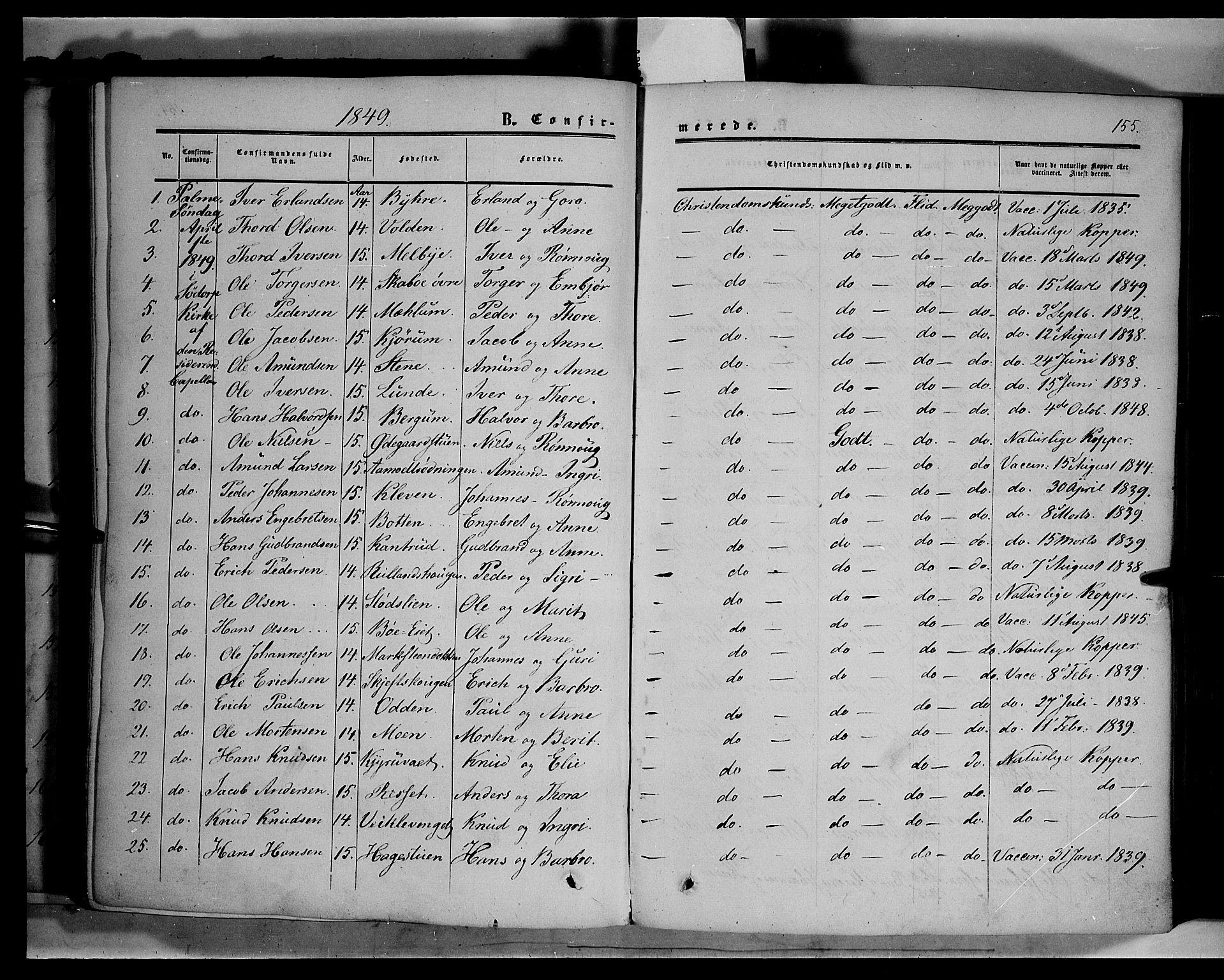SAH, Sør-Fron prestekontor, H/Ha/Haa/L0001: Ministerialbok nr. 1, 1849-1863, s. 155
