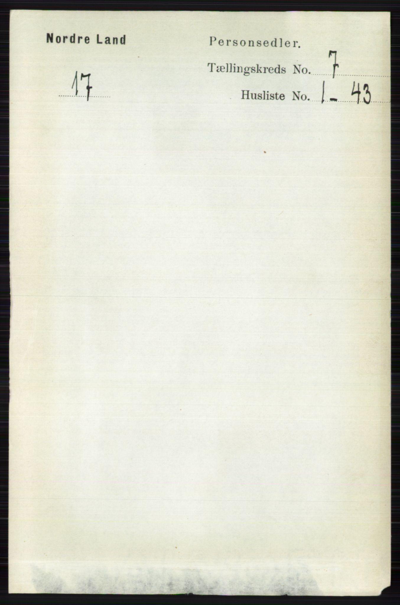 RA, Folketelling 1891 for 0538 Nordre Land herred, 1891, s. 1934
