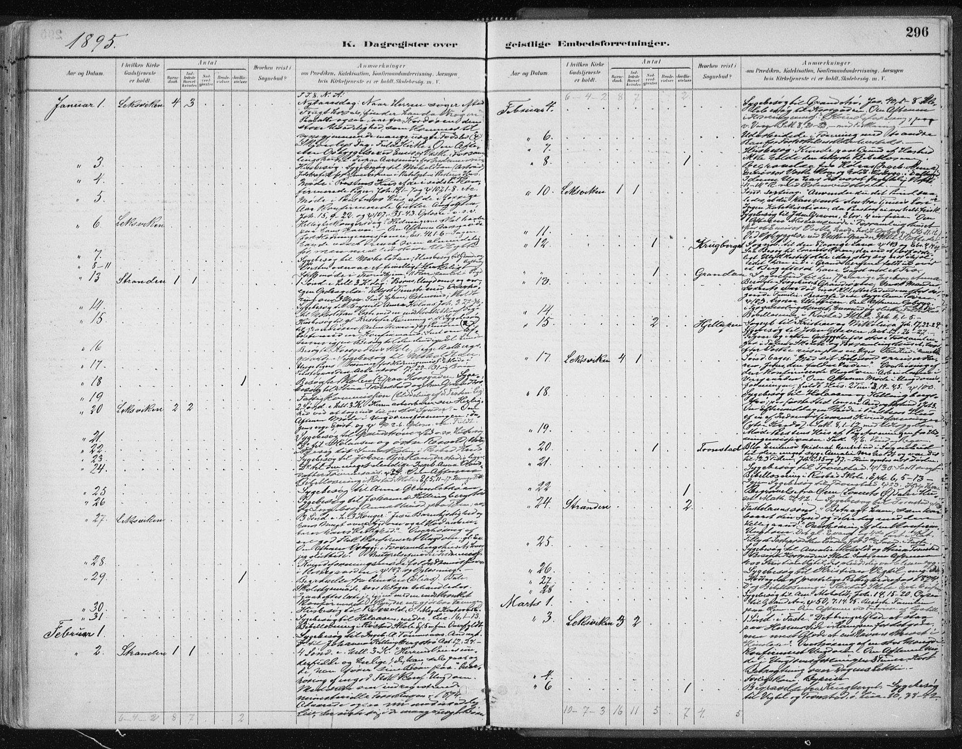 SAT, Ministerialprotokoller, klokkerbøker og fødselsregistre - Nord-Trøndelag, 701/L0010: Ministerialbok nr. 701A10, 1883-1899, s. 296