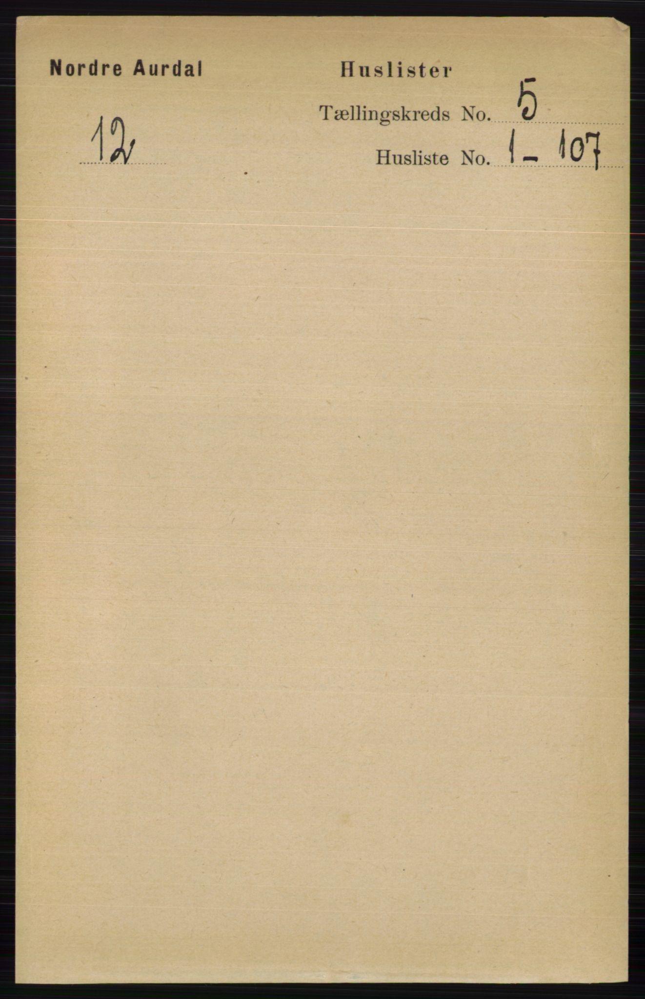 RA, Folketelling 1891 for 0542 Nord-Aurdal herred, 1891, s. 1241