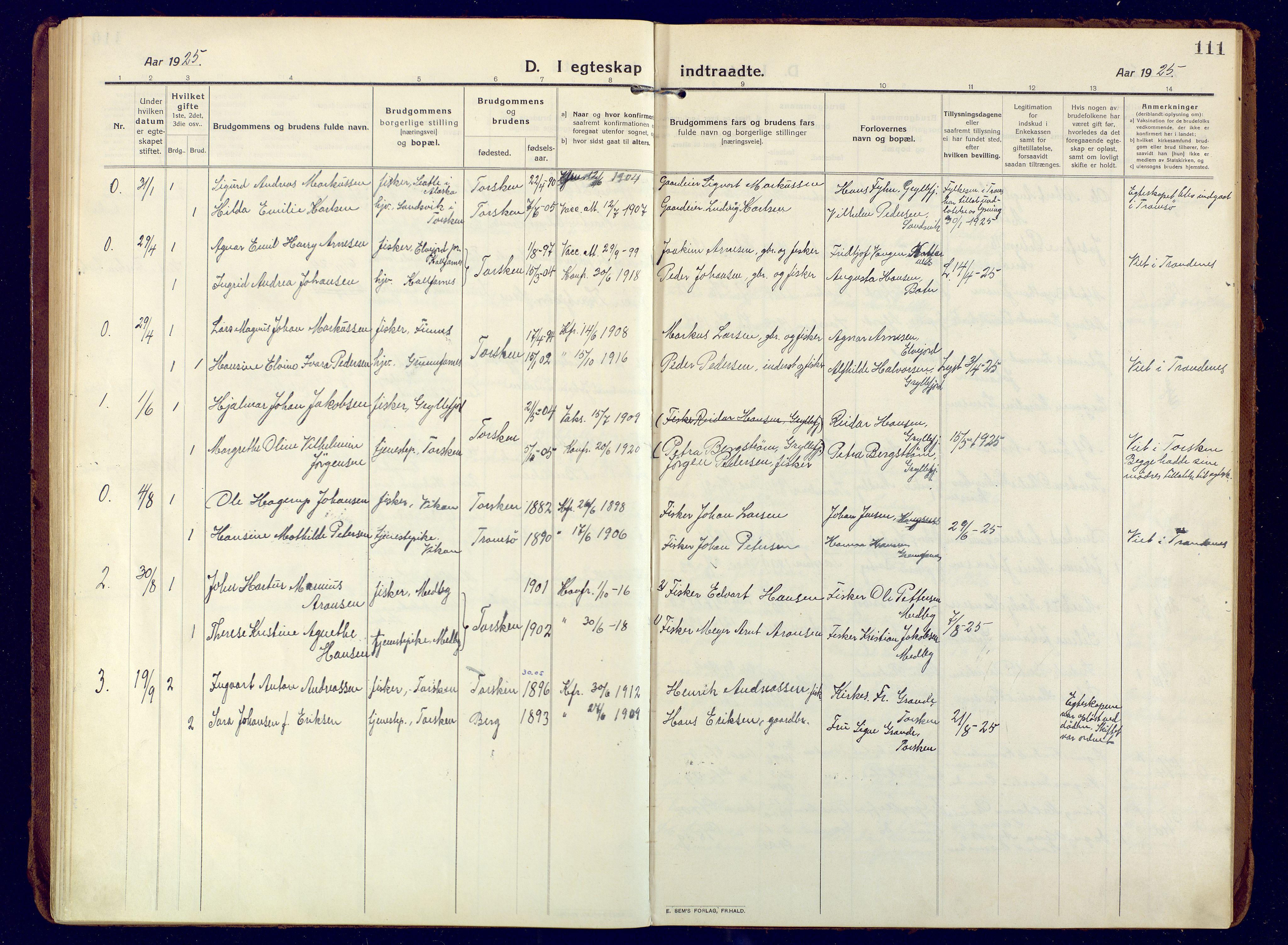 SATØ, Mefjord/Berg sokneprestkontor, G/Ga/Gaa: Ministerialbok nr. 10, 1916-1928, s. 111