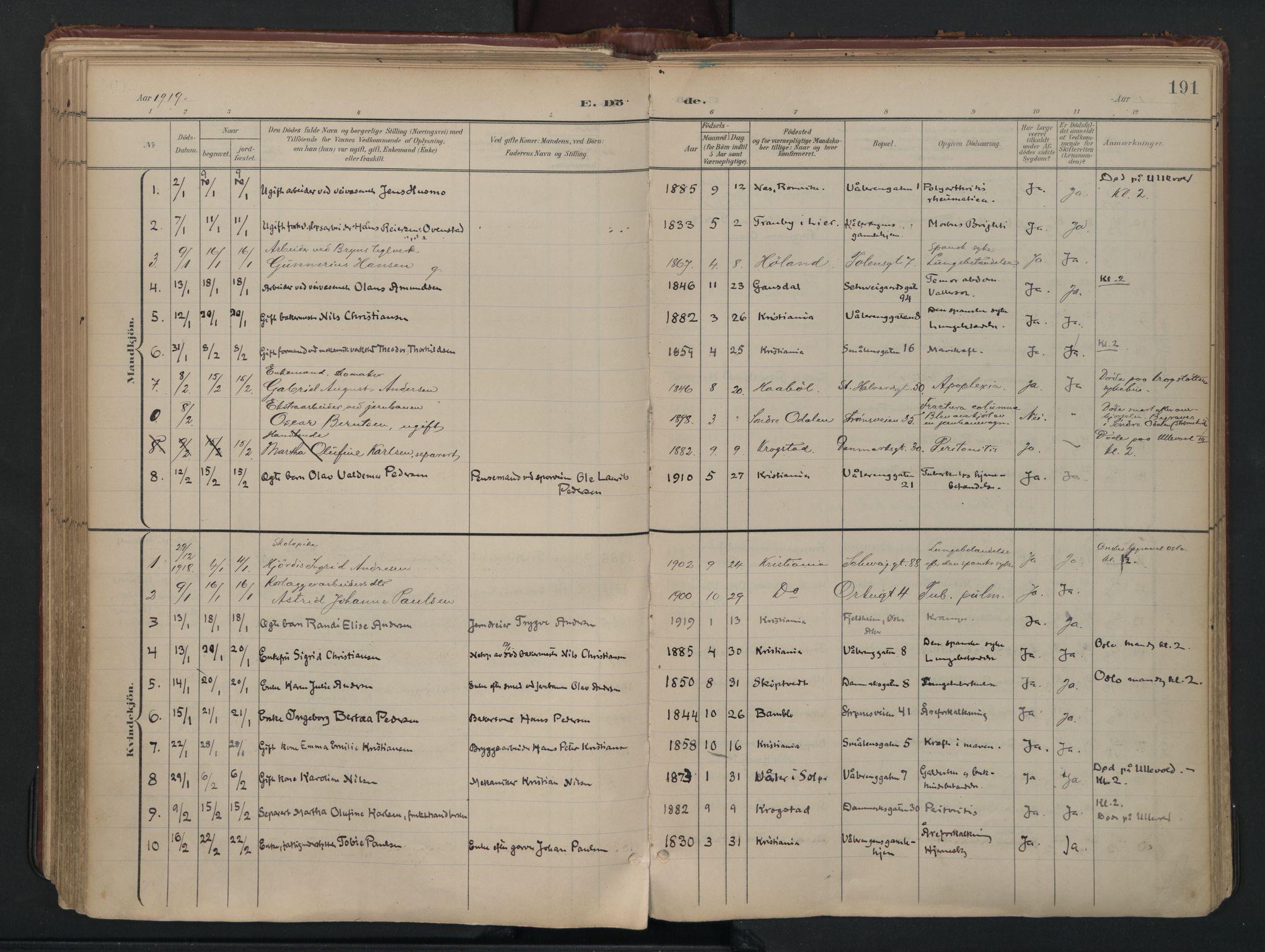 SAO, Vålerengen prestekontor Kirkebøker, F/Fa/L0003: Ministerialbok nr. 3, 1899-1930, s. 191