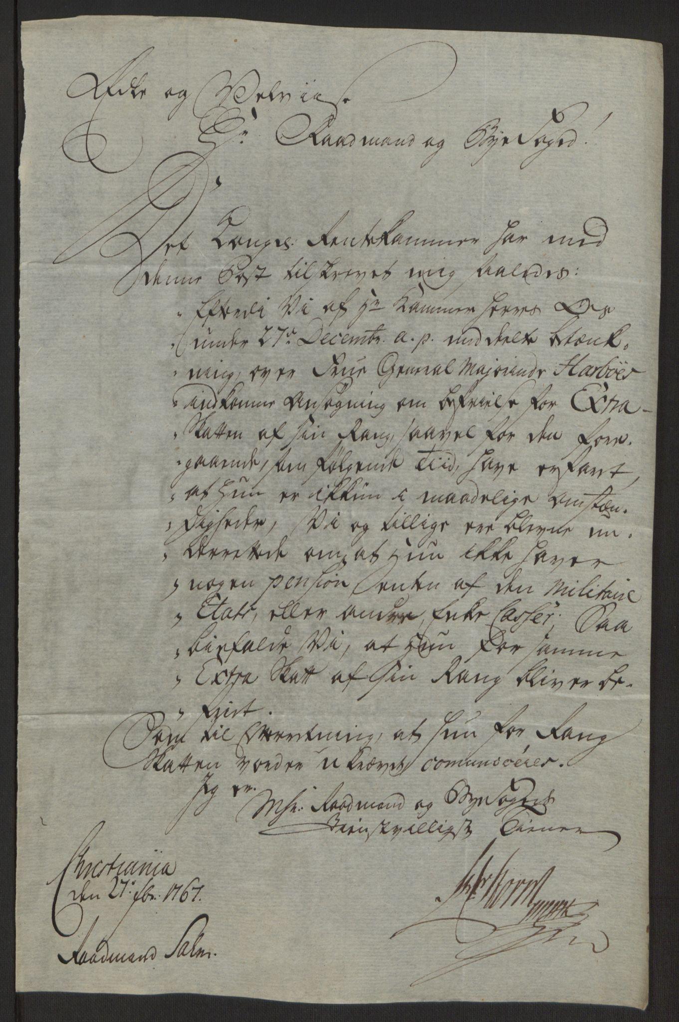RA, Rentekammeret inntil 1814, Reviderte regnskaper, Byregnskaper, R/Rg/L0144: [G4] Kontribusjonsregnskap, 1762-1767, s. 471