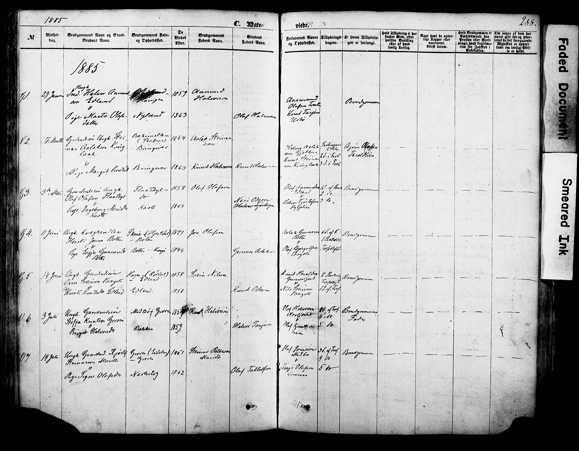 SAKO, Vinje kirkebøker, F/Fa/L0005: Ministerialbok nr. I 5, 1870-1886, s. 288
