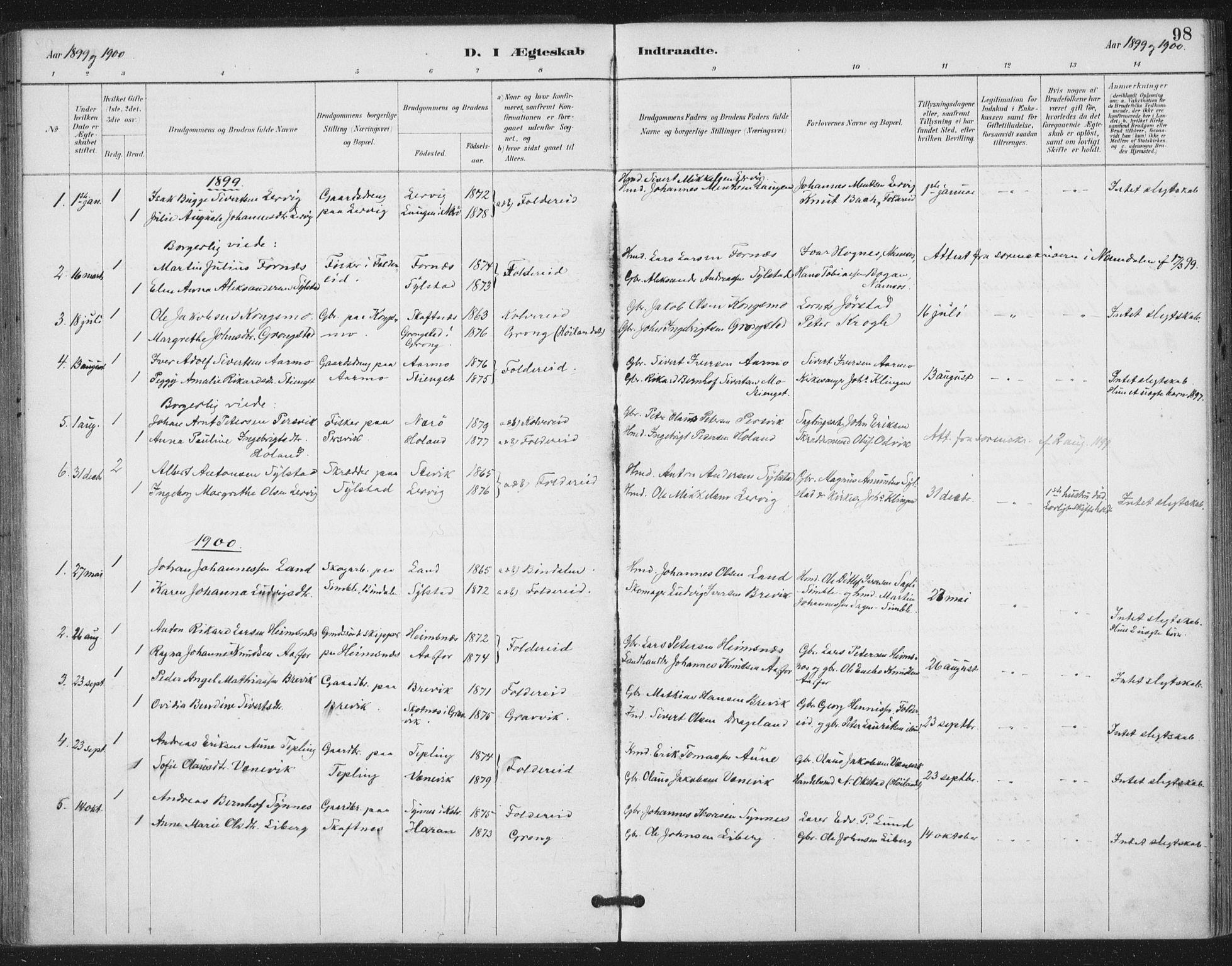 SAT, Ministerialprotokoller, klokkerbøker og fødselsregistre - Nord-Trøndelag, 783/L0660: Ministerialbok nr. 783A02, 1886-1918, s. 98