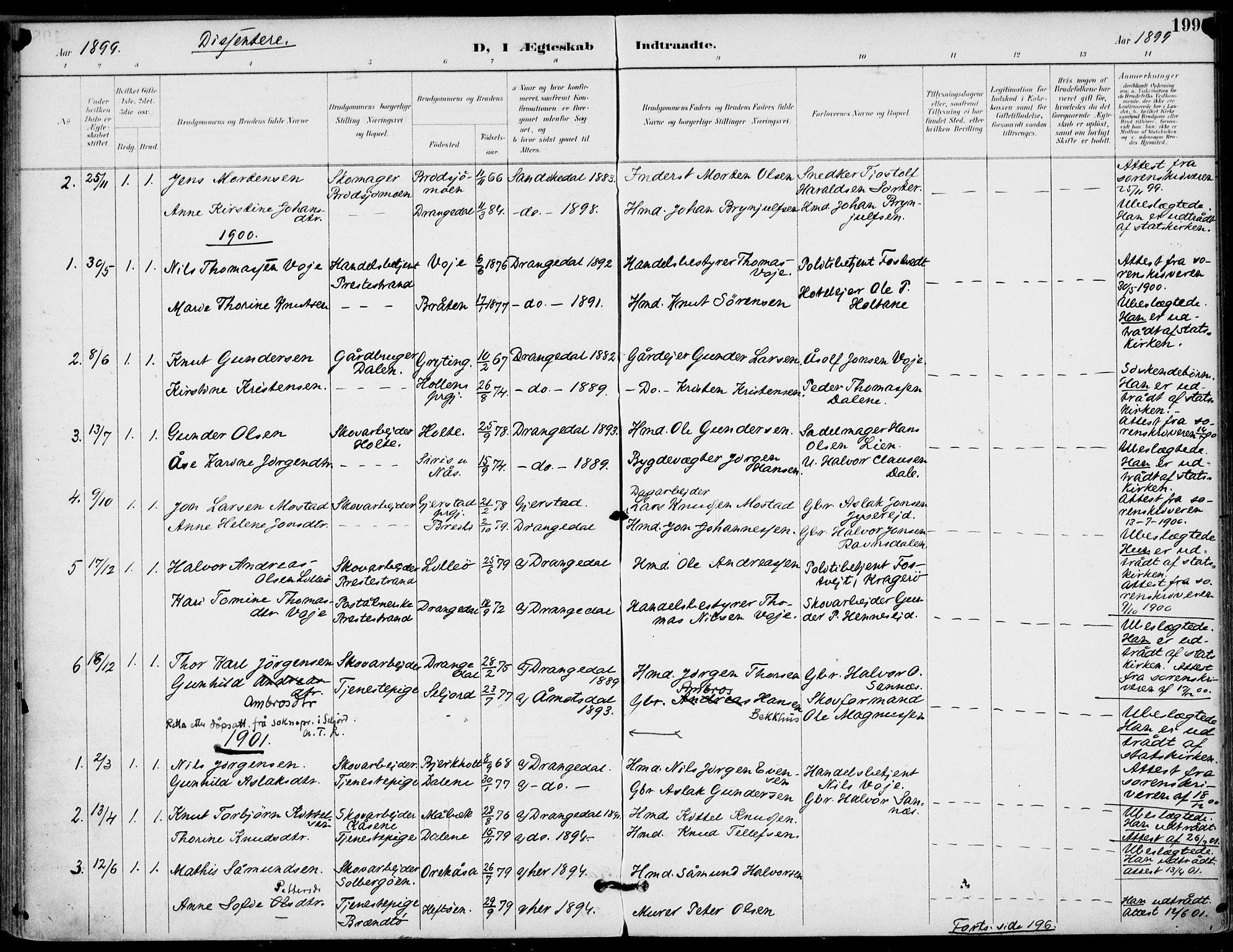 SAKO, Drangedal kirkebøker, F/Fa/L0012: Ministerialbok nr. 12, 1895-1905, s. 199