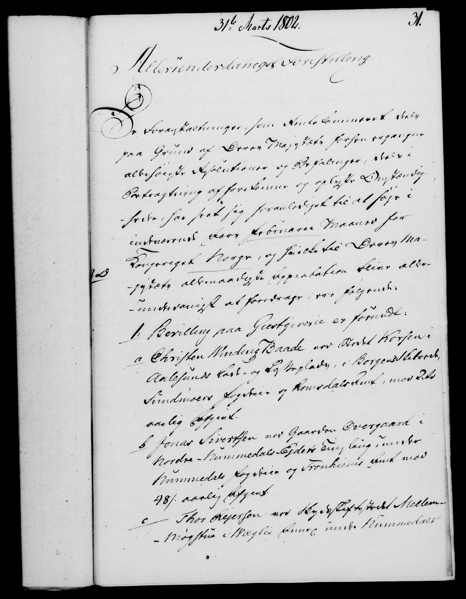 RA, Rentekammeret, Kammerkanselliet, G/Gf/Gfa/L0084: Norsk relasjons- og resolusjonsprotokoll (merket RK 52.84), 1802, s. 209