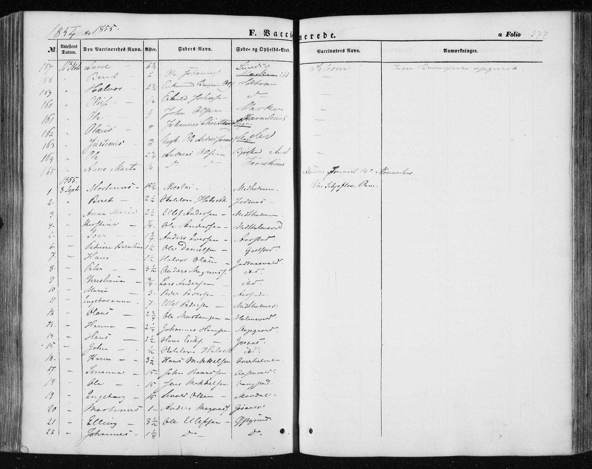 SAT, Ministerialprotokoller, klokkerbøker og fødselsregistre - Nord-Trøndelag, 723/L0240: Ministerialbok nr. 723A09, 1852-1860, s. 377