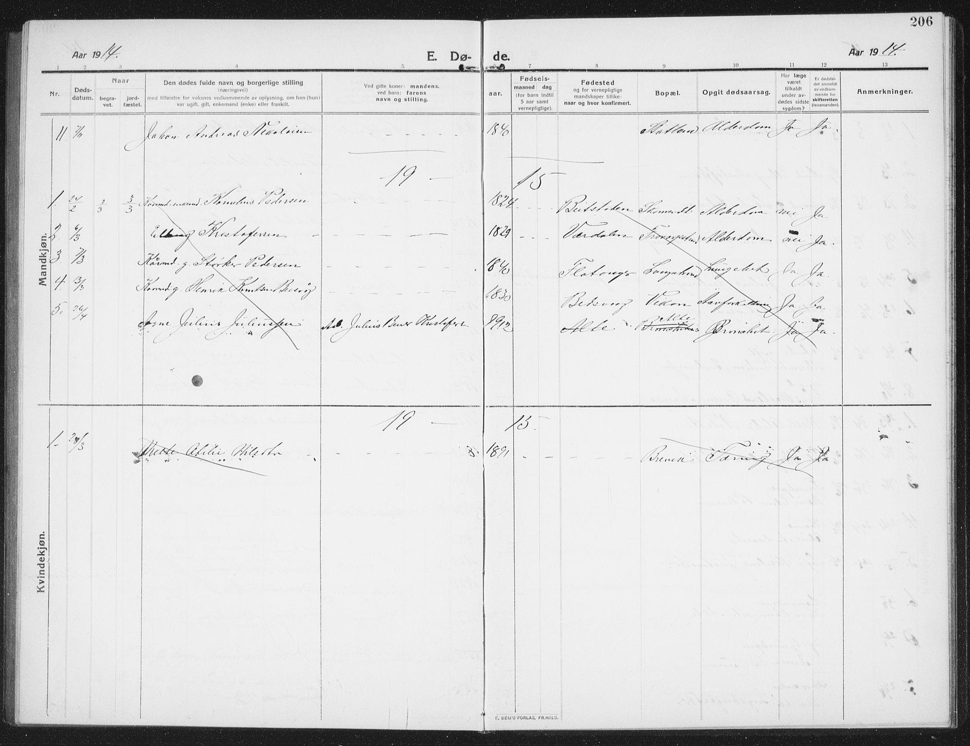 SAT, Ministerialprotokoller, klokkerbøker og fødselsregistre - Nord-Trøndelag, 774/L0630: Klokkerbok nr. 774C01, 1910-1934, s. 206