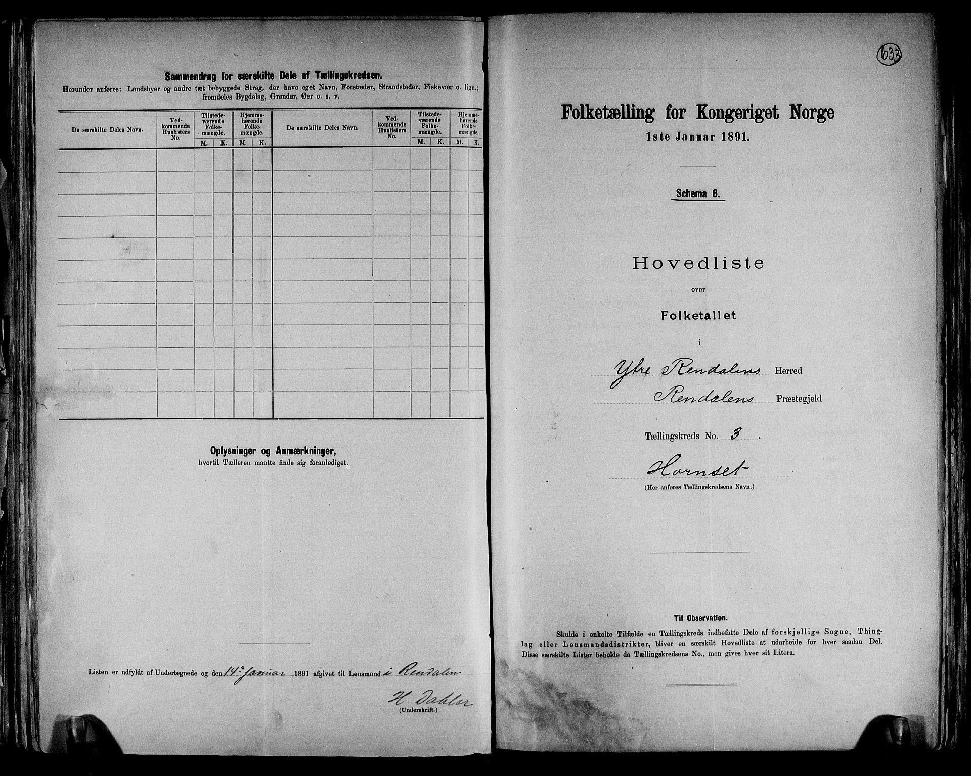 RA, Folketelling 1891 for 0432 Ytre Rendal herred, 1891, s. 9