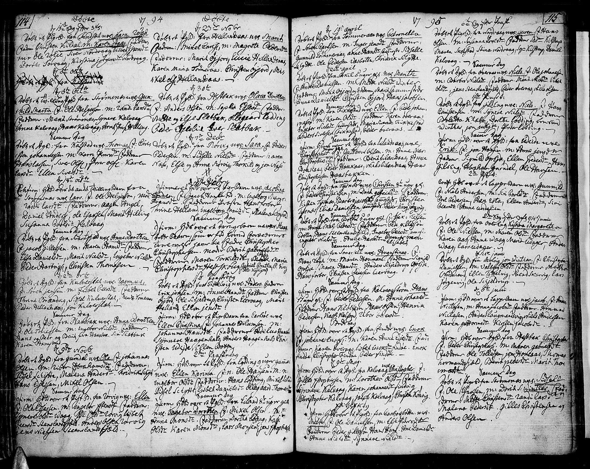 SAT, Ministerialprotokoller, klokkerbøker og fødselsregistre - Nordland, 859/L0841: Ministerialbok nr. 859A01, 1766-1821, s. 114-115