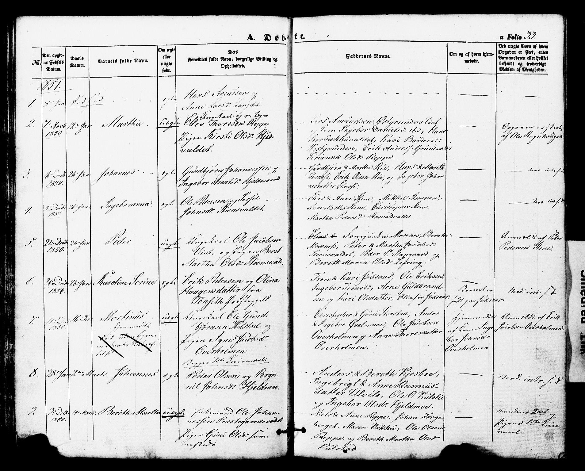 SAT, Ministerialprotokoller, klokkerbøker og fødselsregistre - Nord-Trøndelag, 724/L0268: Klokkerbok nr. 724C04, 1846-1878, s. 33