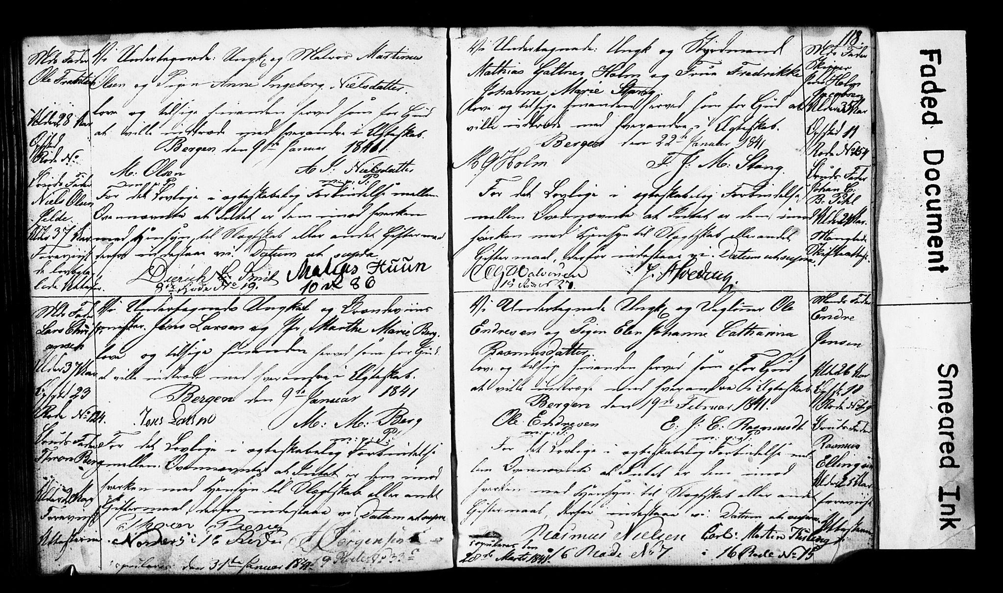 SAB, Domkirken Sokneprestembete, Forlovererklæringer nr. II.5.3, 1832-1845, s. 118
