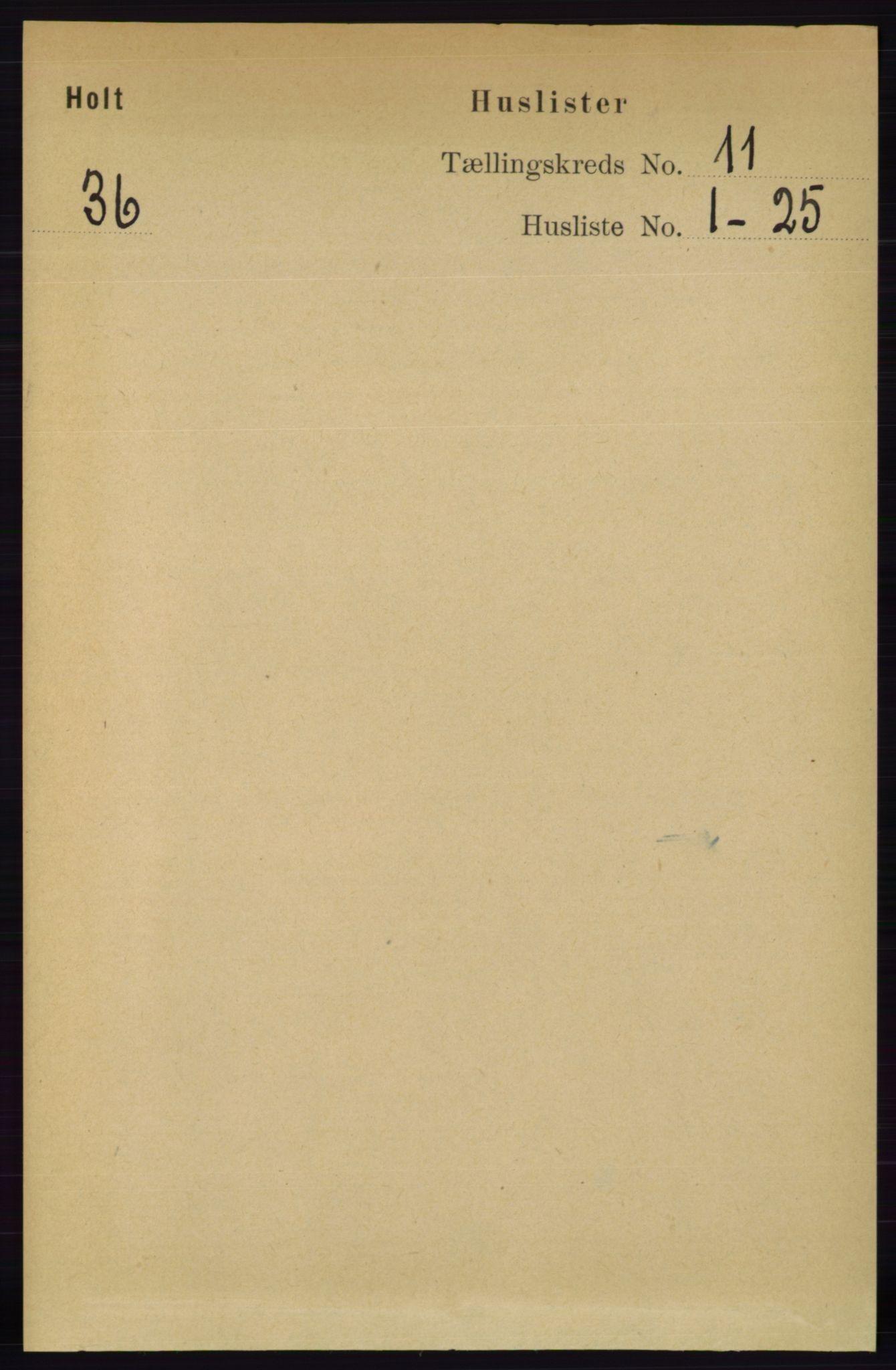 RA, Folketelling 1891 for 0914 Holt herred, 1891, s. 4769