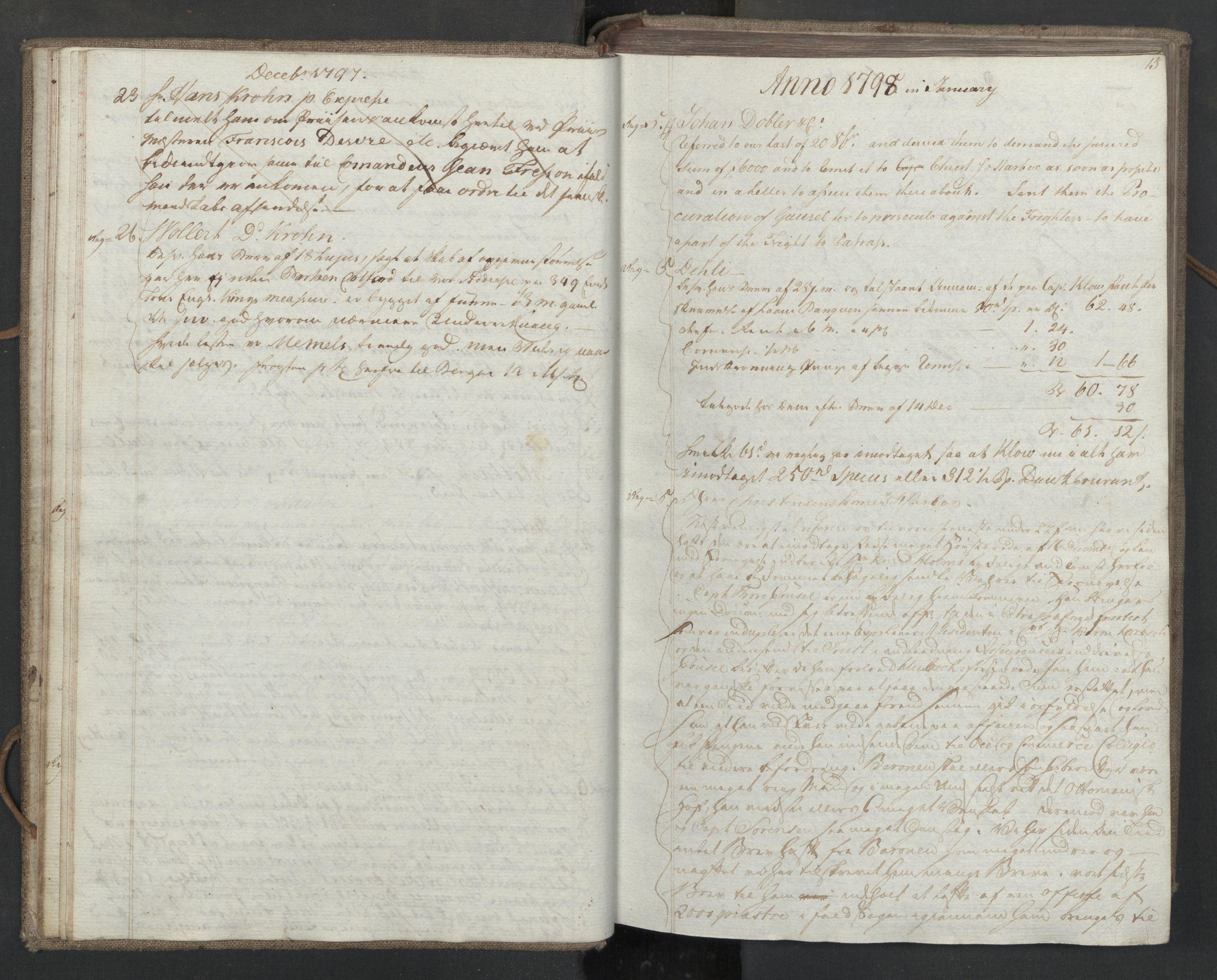 SAST, Pa 0003 - Ploug & Sundt, handelshuset, B/L0008: Kopibok, 1797-1804, s. 14b-15a