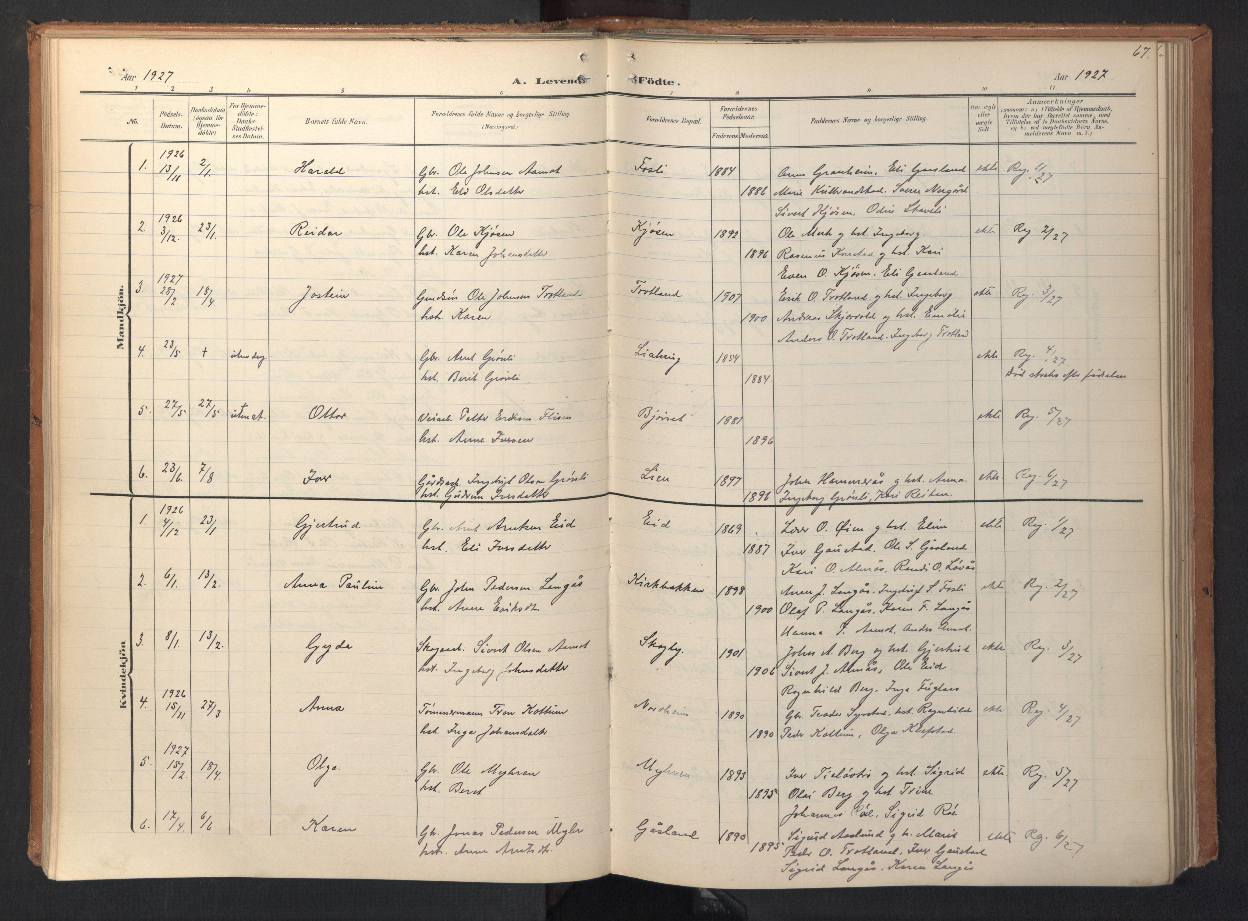 SAT, Ministerialprotokoller, klokkerbøker og fødselsregistre - Sør-Trøndelag, 694/L1128: Ministerialbok nr. 694A02, 1906-1931, s. 67