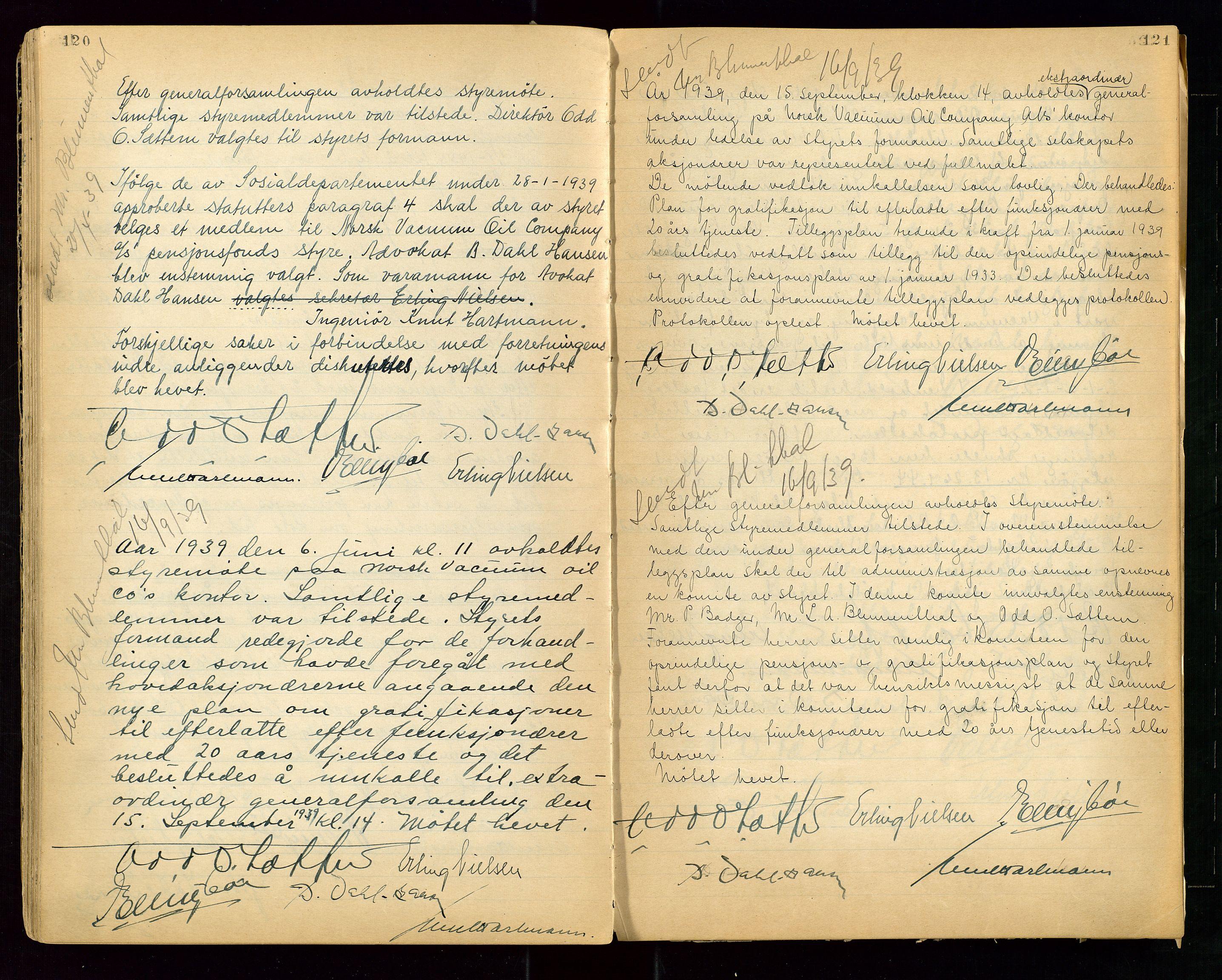 """SAST, PA 1513 - Norsk Vacuum Oil Company A/S, A/L0001: """"Generalforsamlings og styreprotokoll"""" fra 27/4-1918 til 6/4-1949, 1918-1949, s. 120-121"""