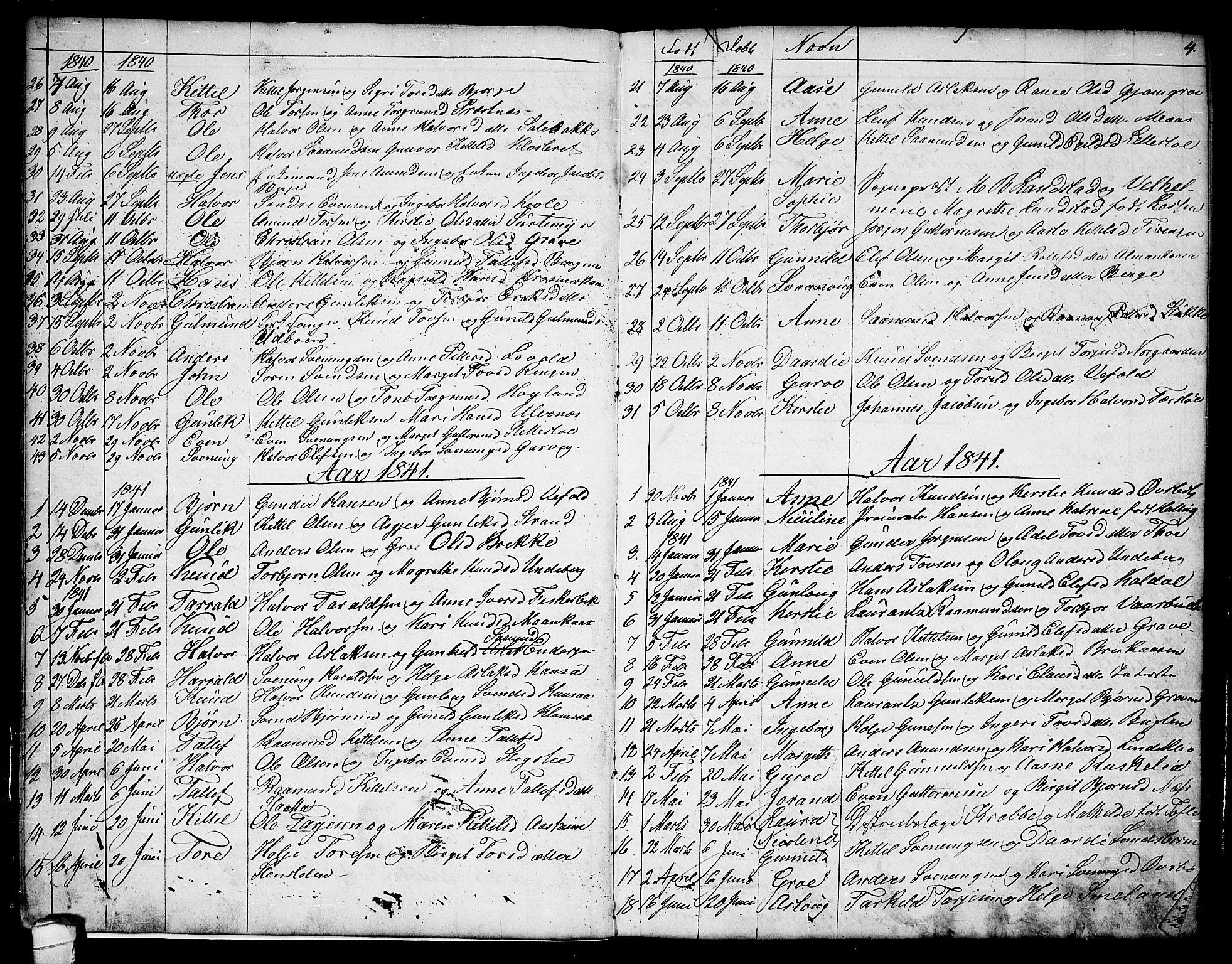 SAKO, Seljord kirkebøker, G/Ga/L0002: Klokkerbok nr. I 2, 1838-1866, s. 4