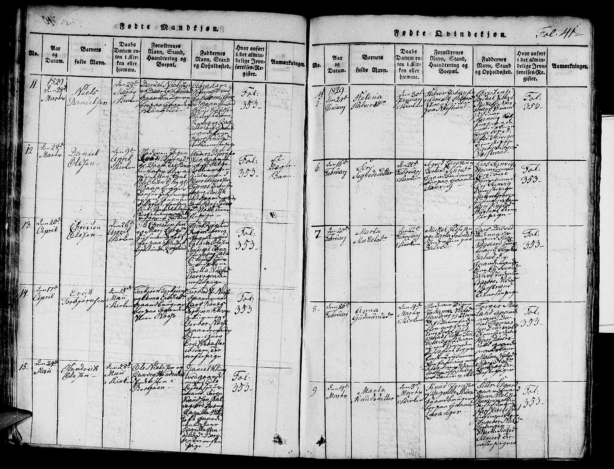 SAST, Nedstrand sokneprestkontor, V: Klokkerbok nr. B 1 /1, 1816-1847, s. 41