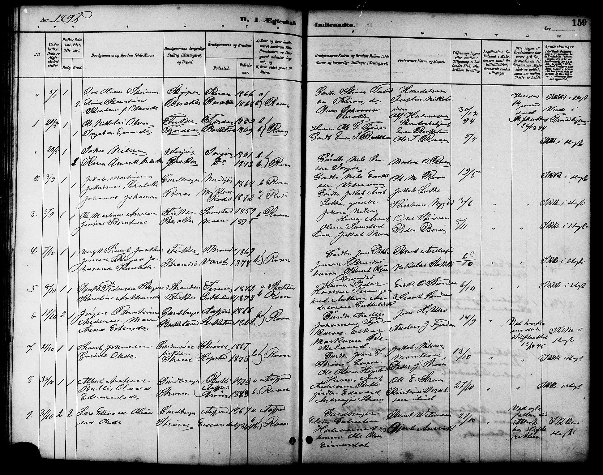 SAT, Ministerialprotokoller, klokkerbøker og fødselsregistre - Sør-Trøndelag, 657/L0716: Klokkerbok nr. 657C03, 1889-1904, s. 159