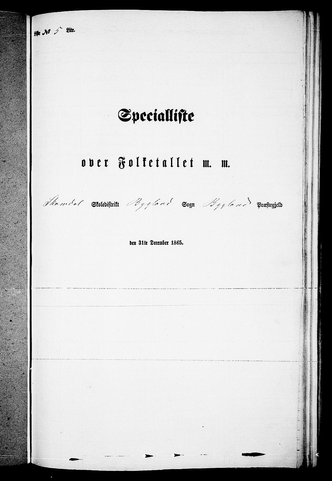 RA, Folketelling 1865 for 0938P Bygland prestegjeld, 1865, s. 50