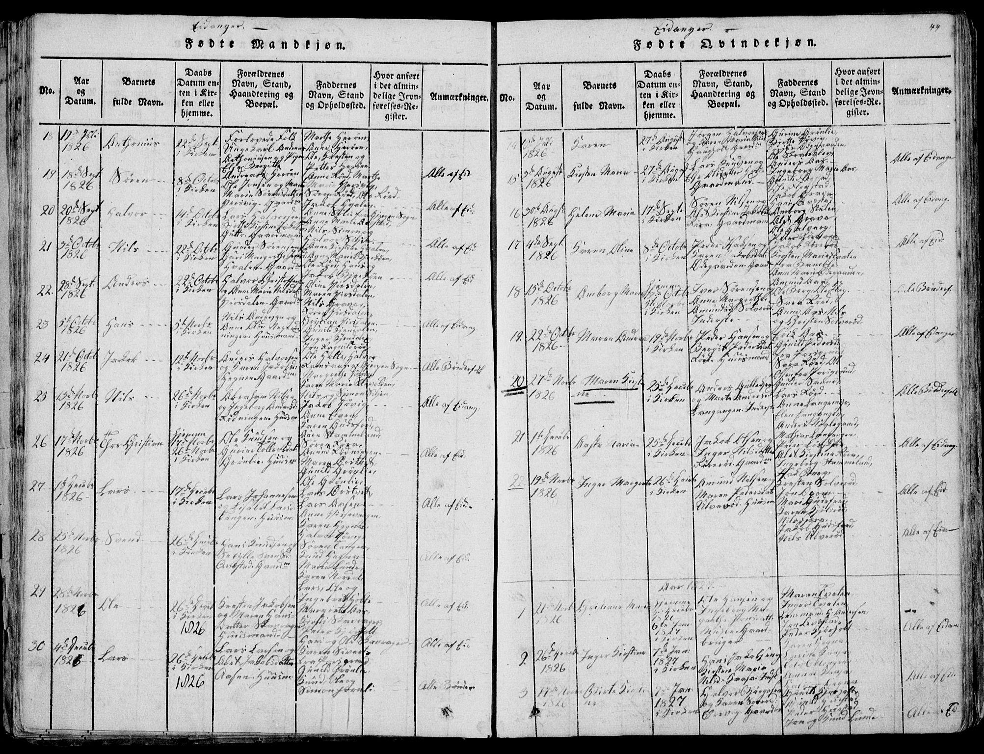 SAKO, Eidanger kirkebøker, F/Fa/L0007: Ministerialbok nr. 7, 1814-1831, s. 44