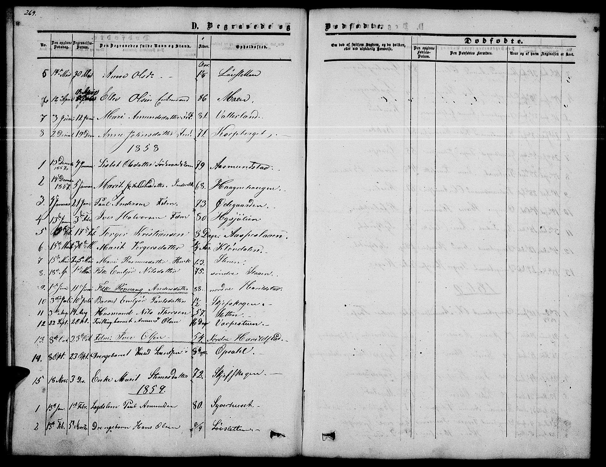 SAH, Nord-Fron prestekontor, Klokkerbok nr. 2, 1851-1883, s. 269