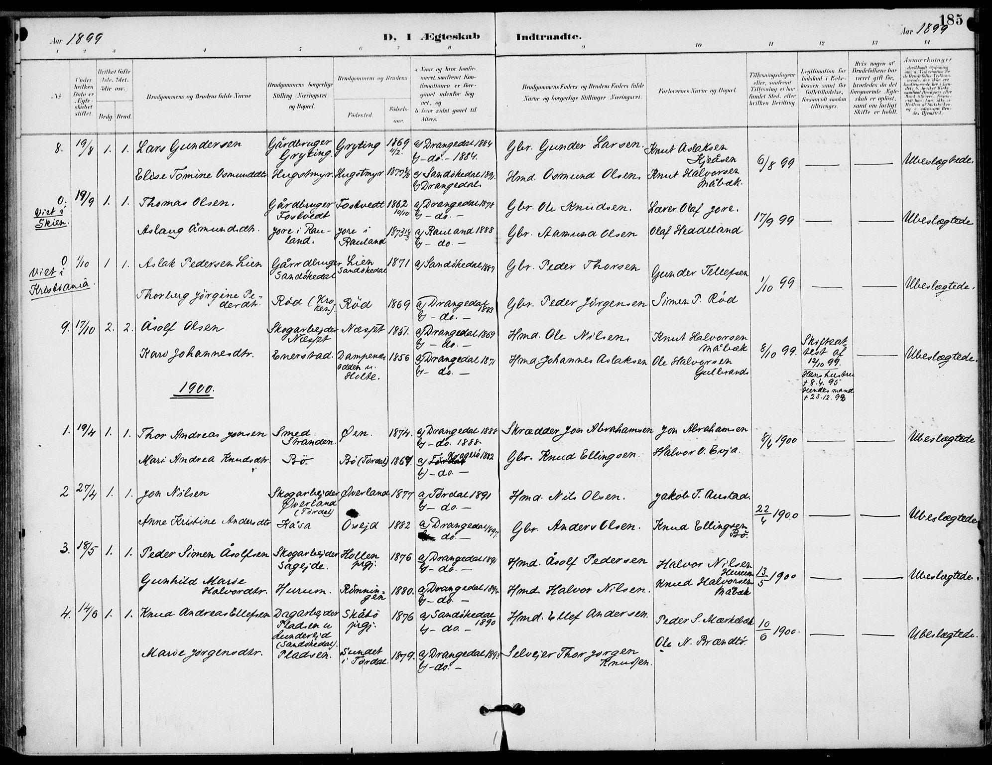 SAKO, Drangedal kirkebøker, F/Fa/L0012: Ministerialbok nr. 12, 1895-1905, s. 185