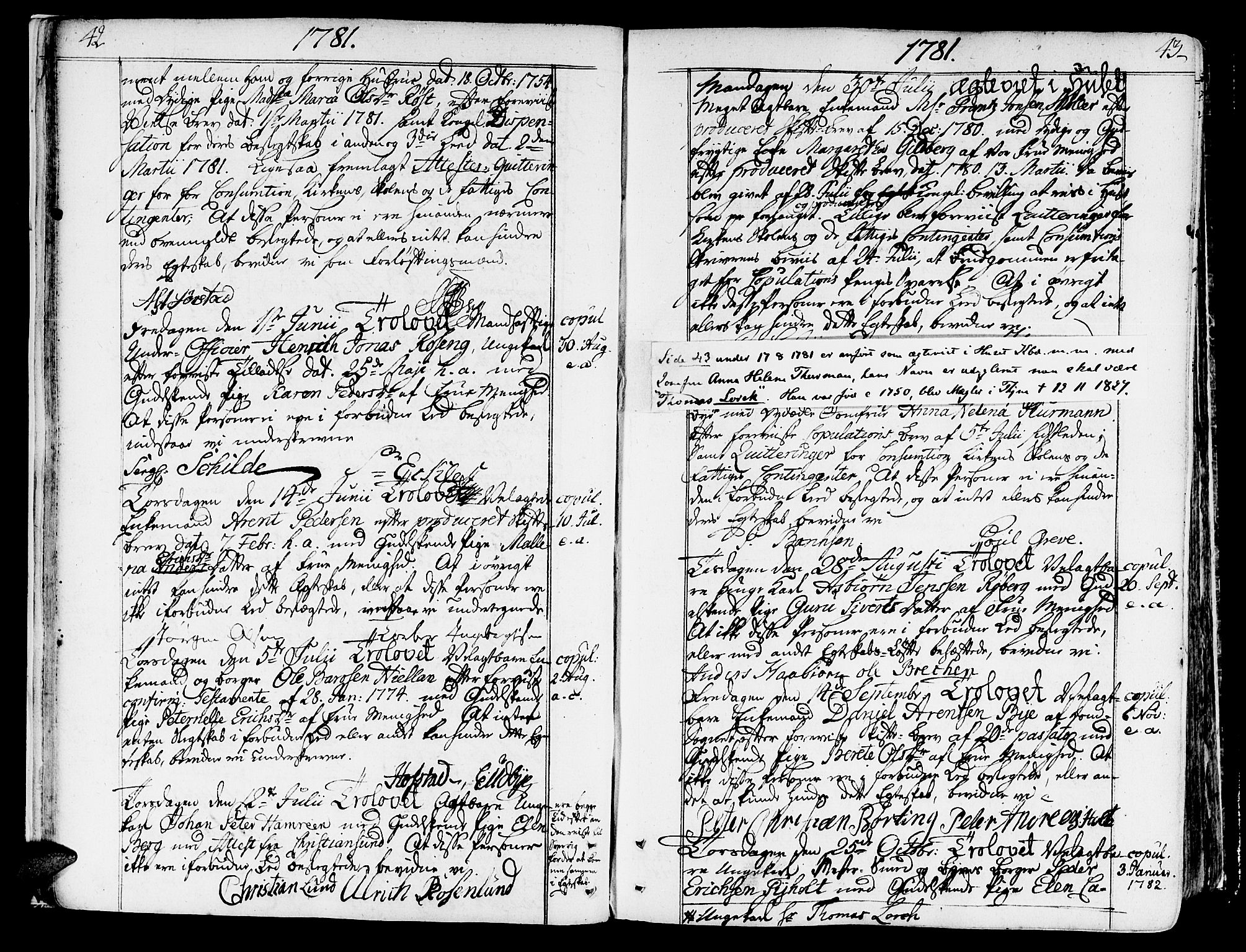 SAT, Ministerialprotokoller, klokkerbøker og fødselsregistre - Sør-Trøndelag, 602/L0105: Ministerialbok nr. 602A03, 1774-1814, s. 42-43