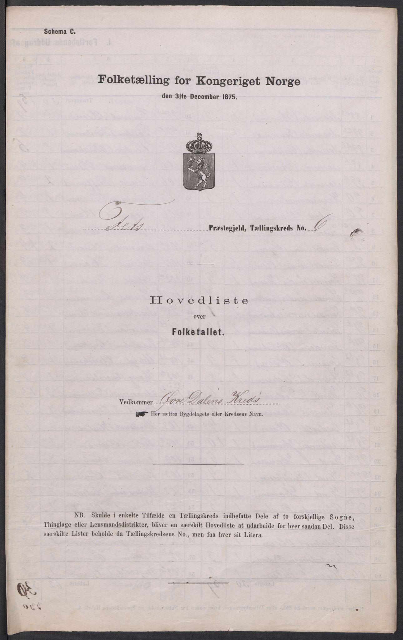 RA, Folketelling 1875 for 0227P Fet prestegjeld, 1875, s. 65