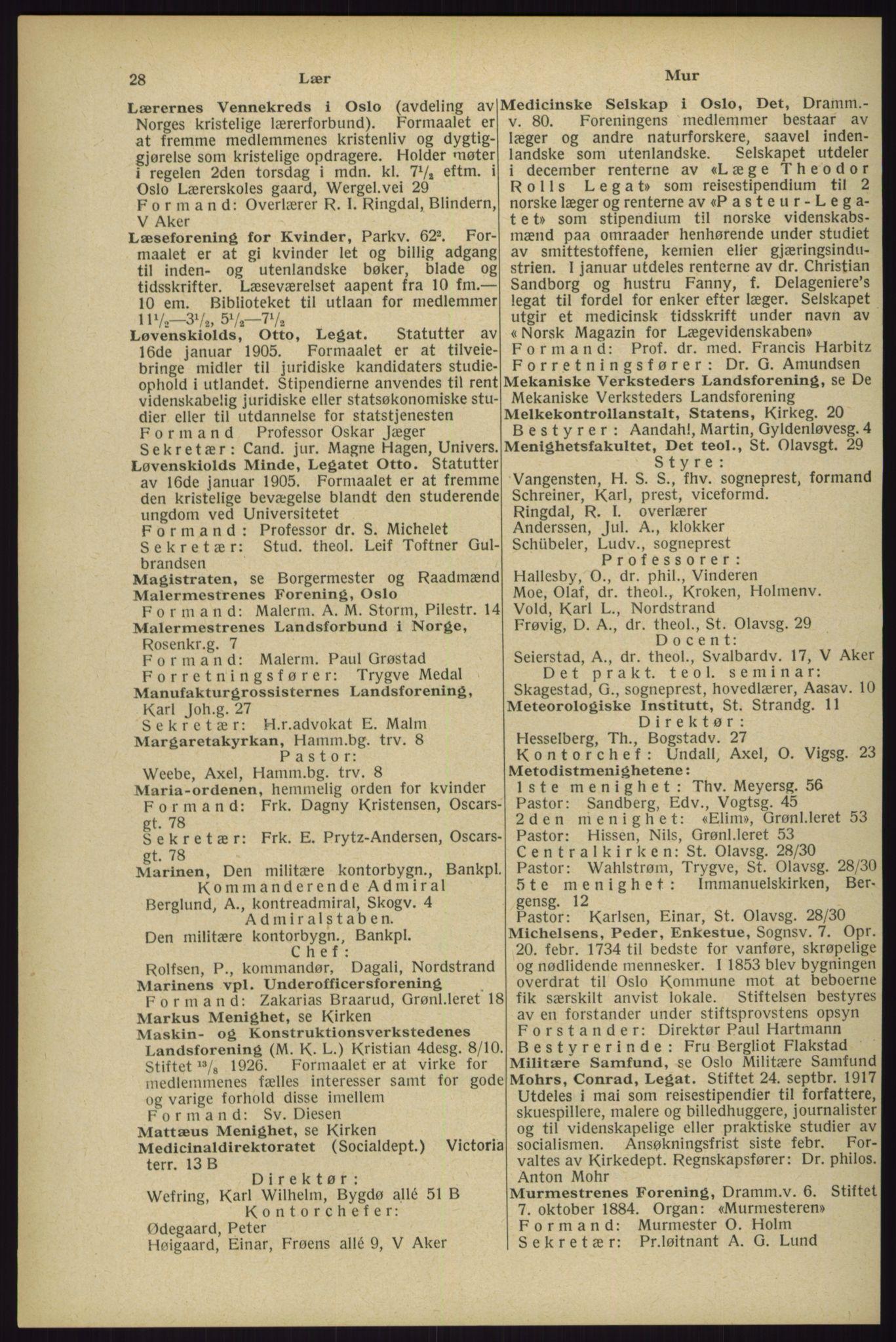 RA, Oslo adressebok (publikasjon)*, 1929, s. 28